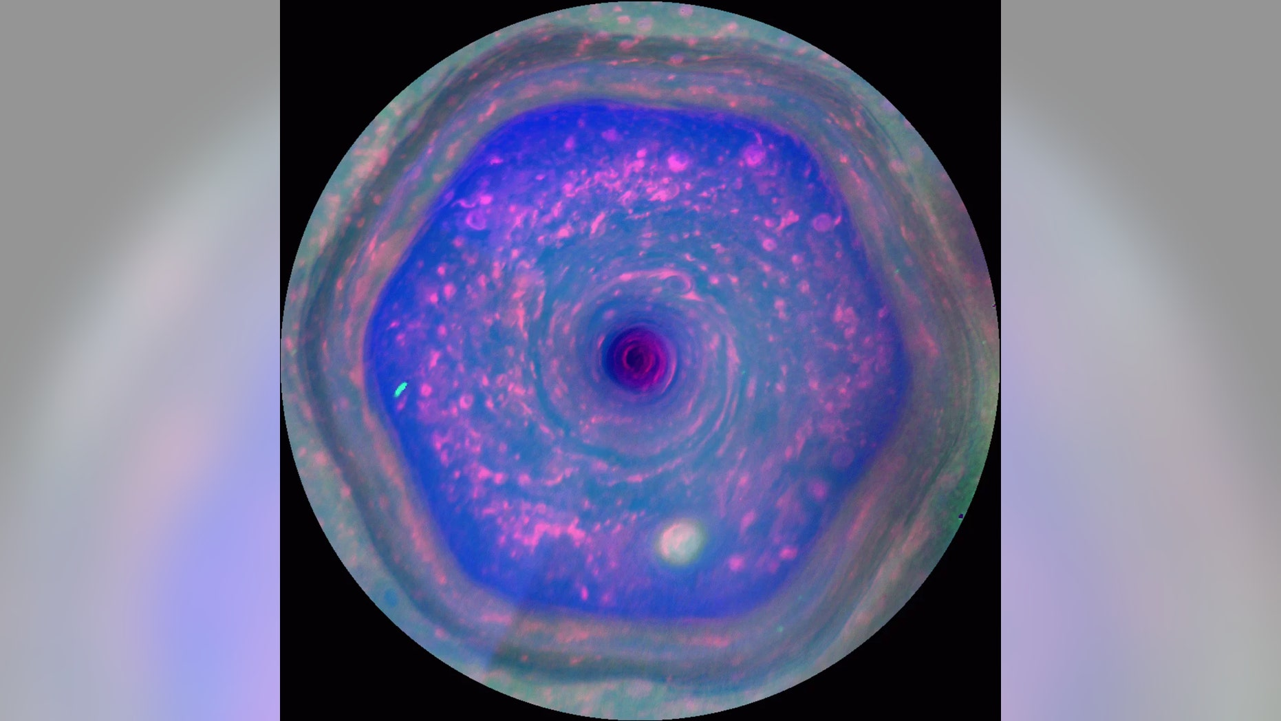 Saturn's north pole hexagon in motion as seen by the now-defunct Cassini spacecraft. (Credit: NASA/JPL-Caltech/SSI/Hampton University)