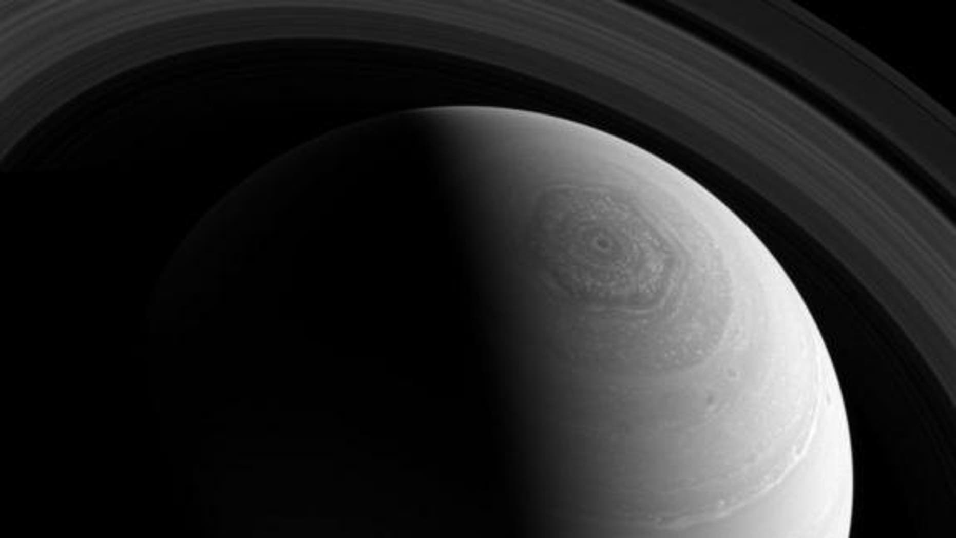 Saturn's odd hexagonal jet stream swirls in this amazing photo taken by the Cassini spacecraft. Image released Feb. 3, 2014.