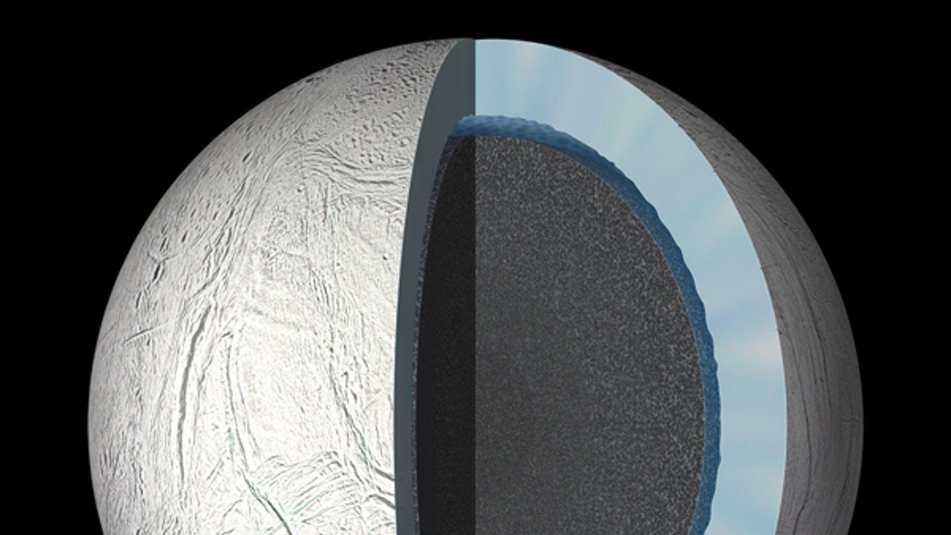 This artist's rendering showing a cutaway view into the interior of Saturn's moon Enceladus.  (NASA/JPL-Caltech)