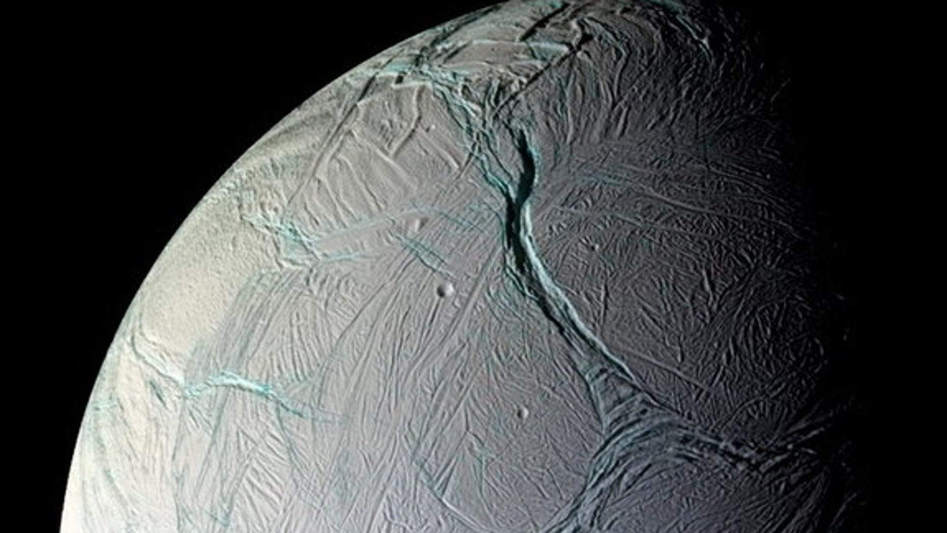 This image of the geyser-spewing Saturn moon Enceladus was taken on Oct. 5, 2008 by NASA's Cassini spacecraft.