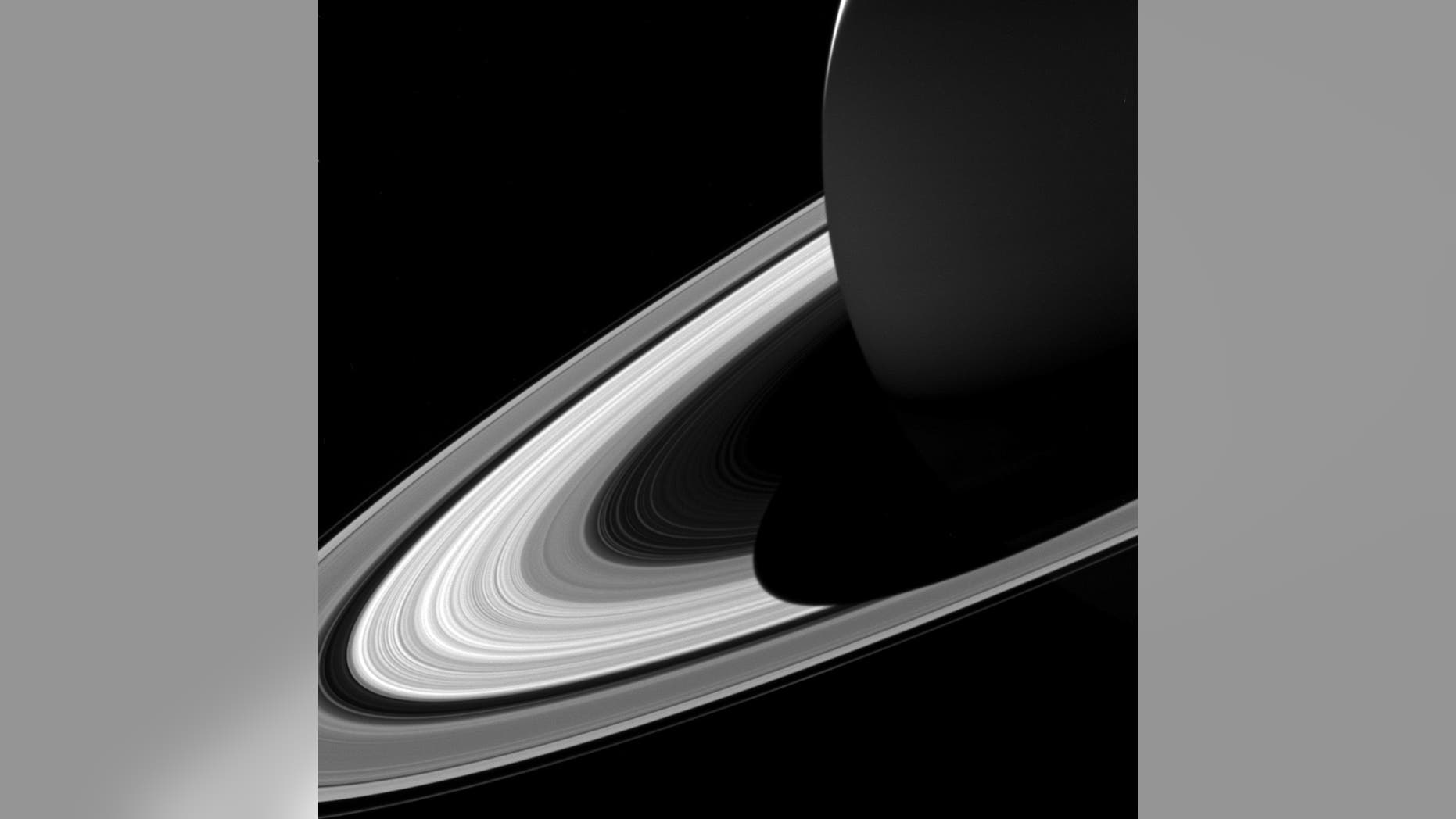NASA's Cassini spacecraft captured this image of Saturn's shadow covering part the planet's rings on Feb. 3, 2017.