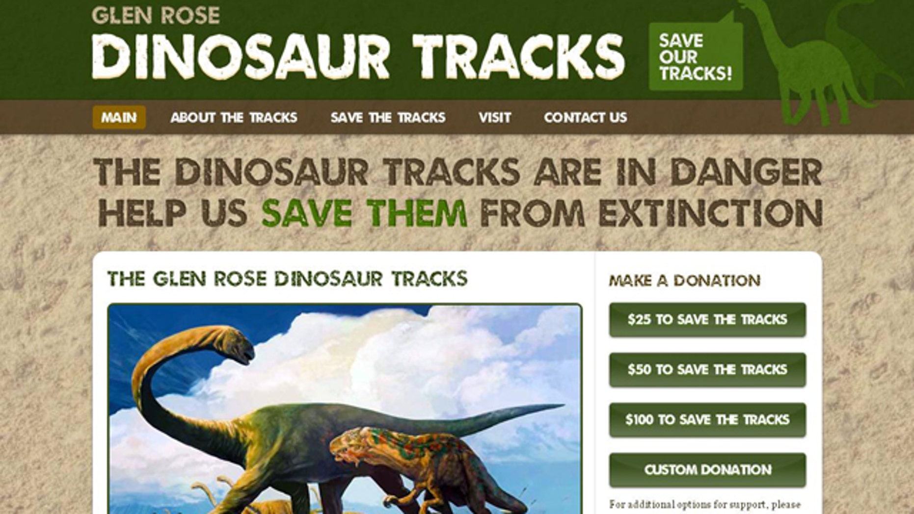 A screenshot of the website for the Glen Rose Dinosaur tracks offers information on the find and how visitors can help protect the ancient footsteps.
