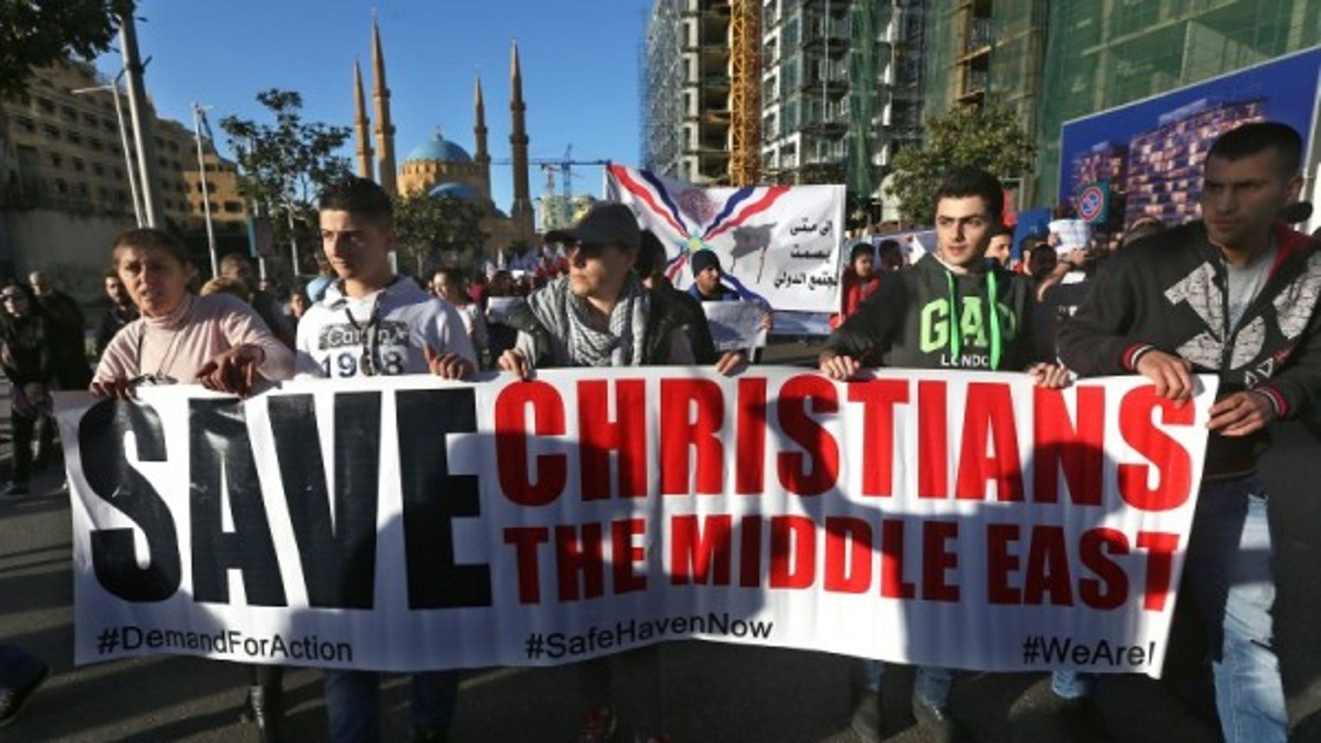 Protesters in Lebanon in solidarity with Christians abducted in Syria and Iraq.