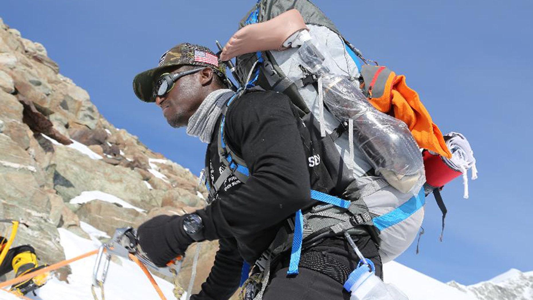 Cpl. Kionte Storey during a recent climb.