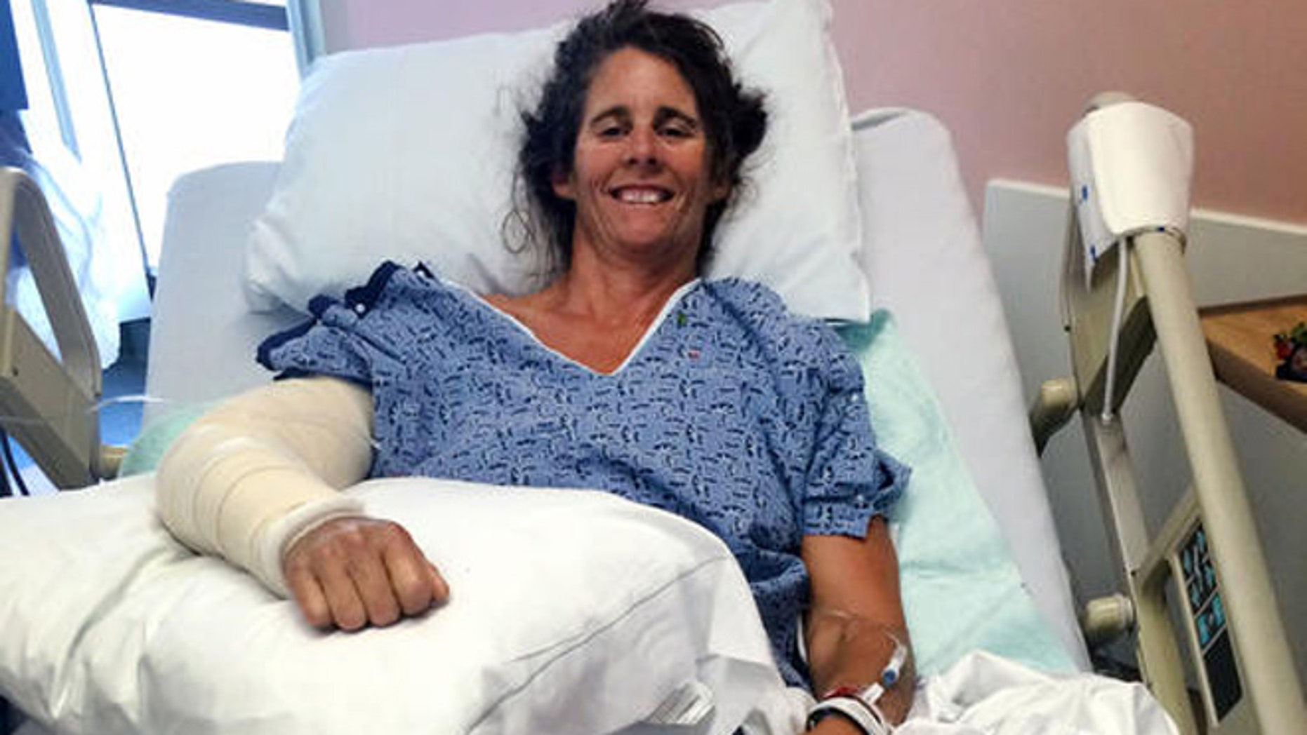 This Thursday, June 2, 2016 photo provided by Orange County Global Medical Center shows Maria Korcsmaros recovering in her hospital bed at Orange County Global Medical Center in Santa Ana, Calif.