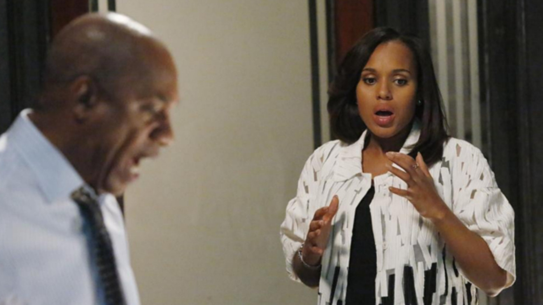 """This image released by ABC shows actress Kerry Washington and actor Joe Morton in a scene from """"Scandal."""""""
