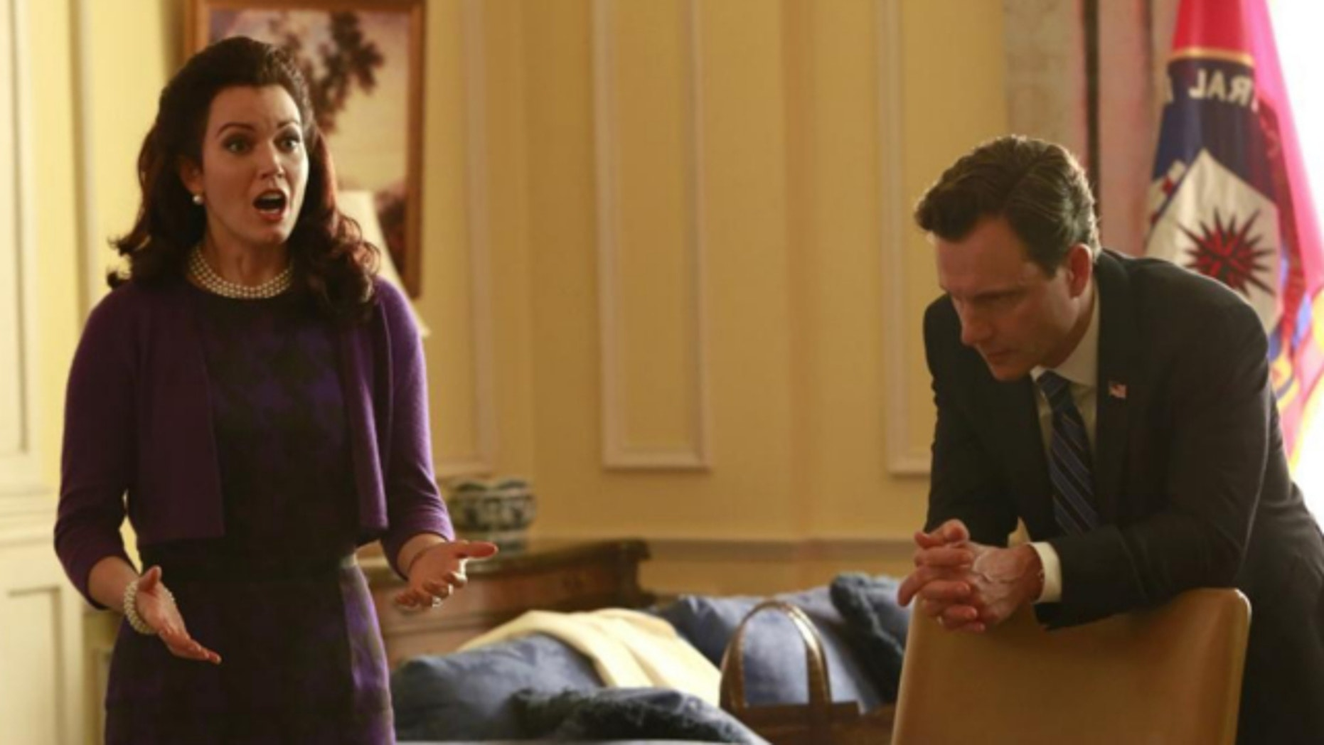"""This image released by ABC shows actress Bellamy Young and actor Tony Goldwyn in a scene from """"Scandal."""" The series airs Thursdays at 10 p.m. EST on ABC."""
