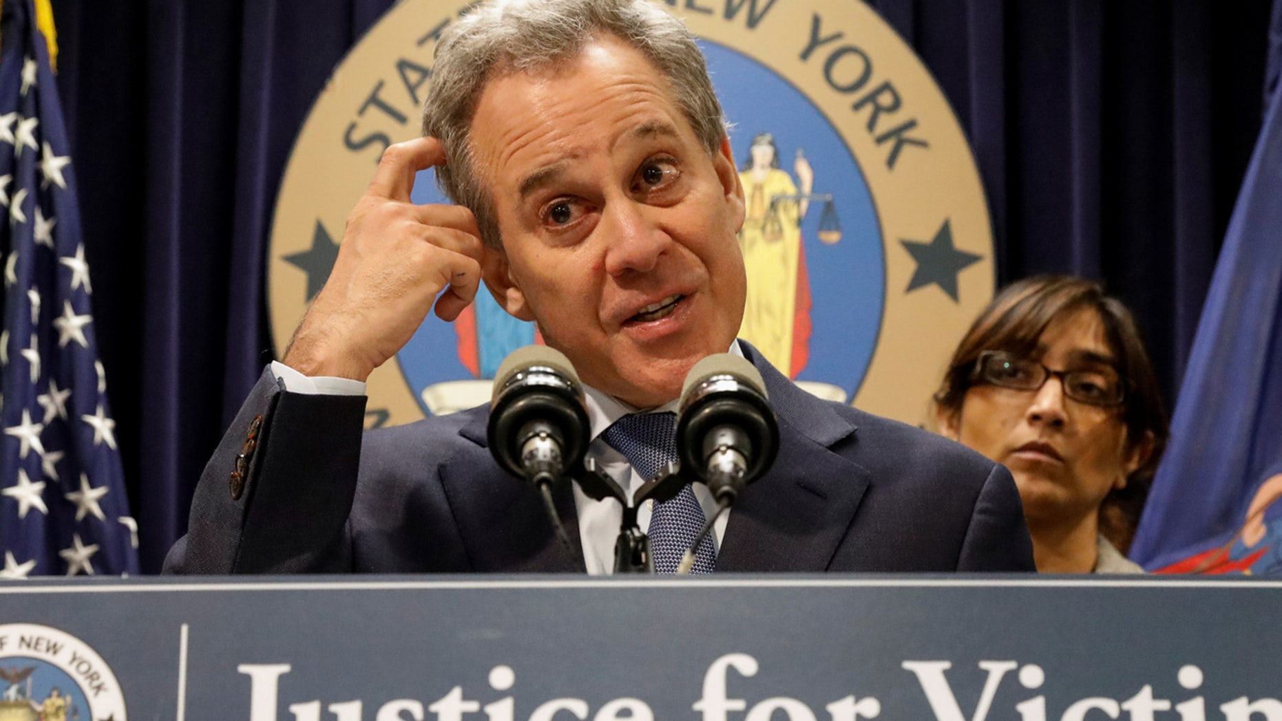 "FILE 2018: New York state Attorney General Eric Schneiderman writes in a letter that ""by closing New York's double jeopardy loophole, lawmakers can ensure that no one accused of breaking New York's laws will escape accountability merely because of a strategically timed pardon."""