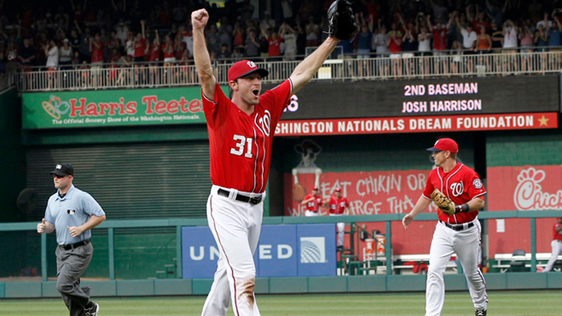 June 20, 2015: Washington Nationals starting pitcher Max Scherzer celebrates after his no-hitter baseball game against the Pittsburgh Pirates at Nationals Park in Washington. (AP)