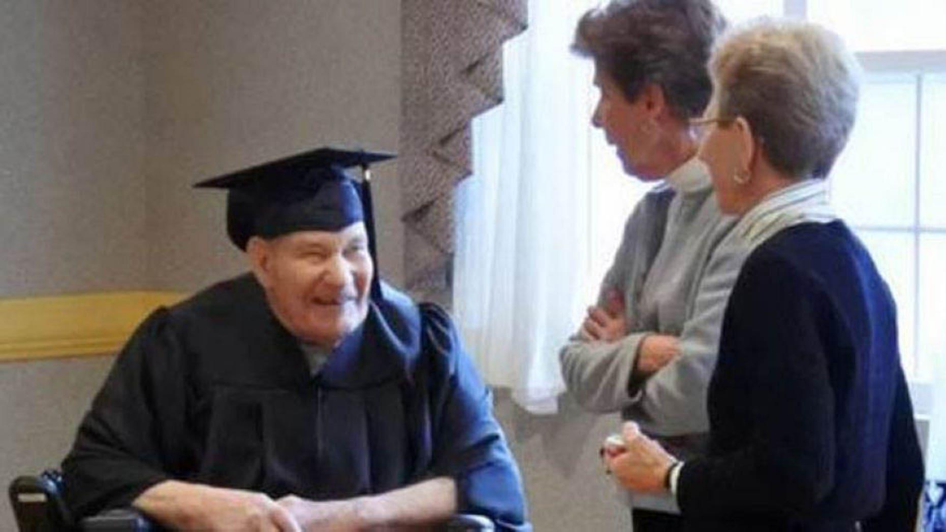 90-year-old World War II Navy Seabee Lou Schipper was awarded his high school diploma Friday. (St. Xavier High School)
