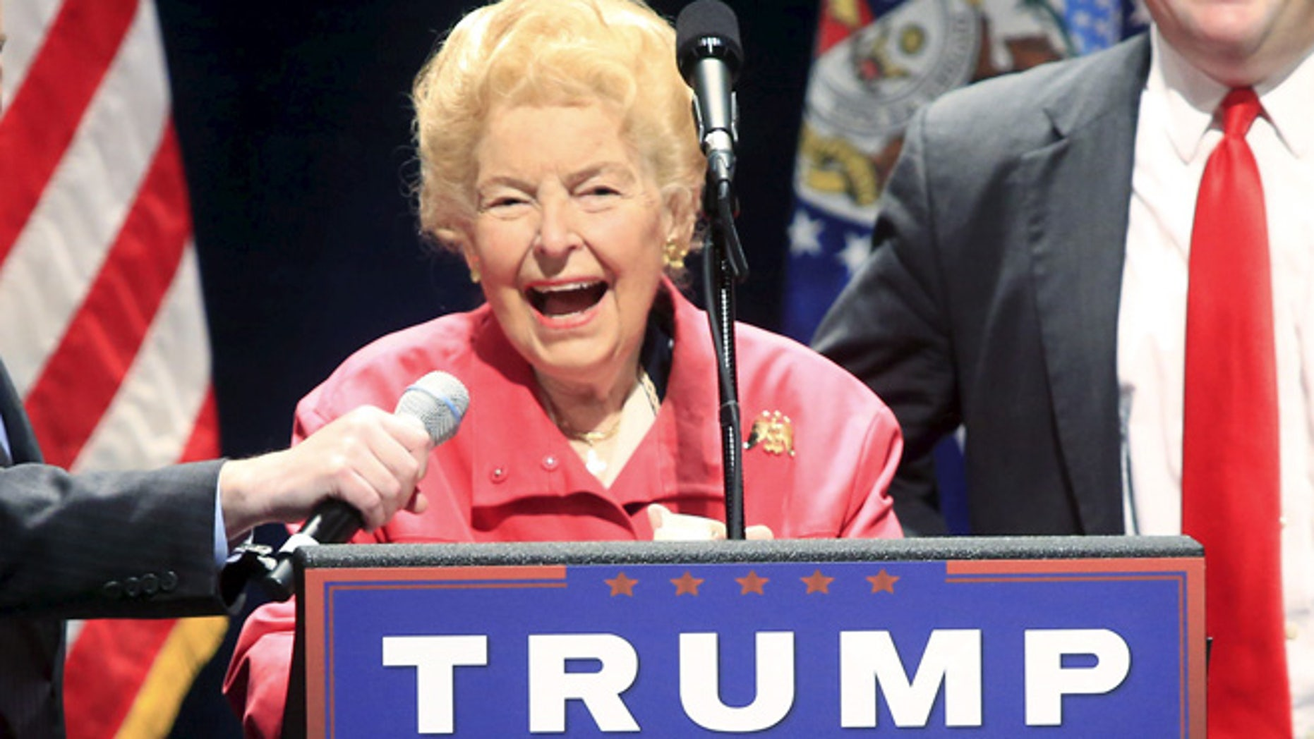 FILE: March 11, 2016: Conservative activist Phyllis Schlafly introduces GOP presidential candidate Donald Trump, Peabody Opera House in St. Louis, Mo. (REUTERS)