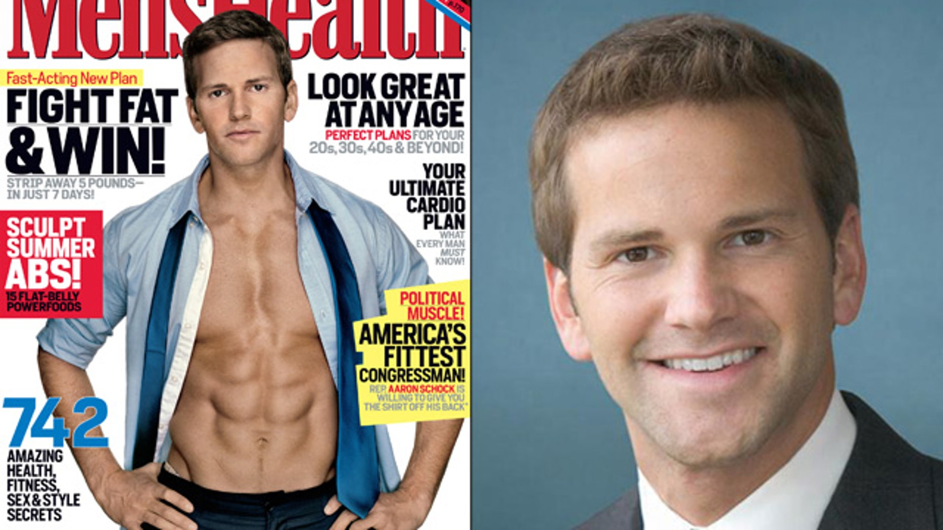Shown here is Rep. Aaron Schock, in his official photo and on the cover of Men's Health magazine in 2011.