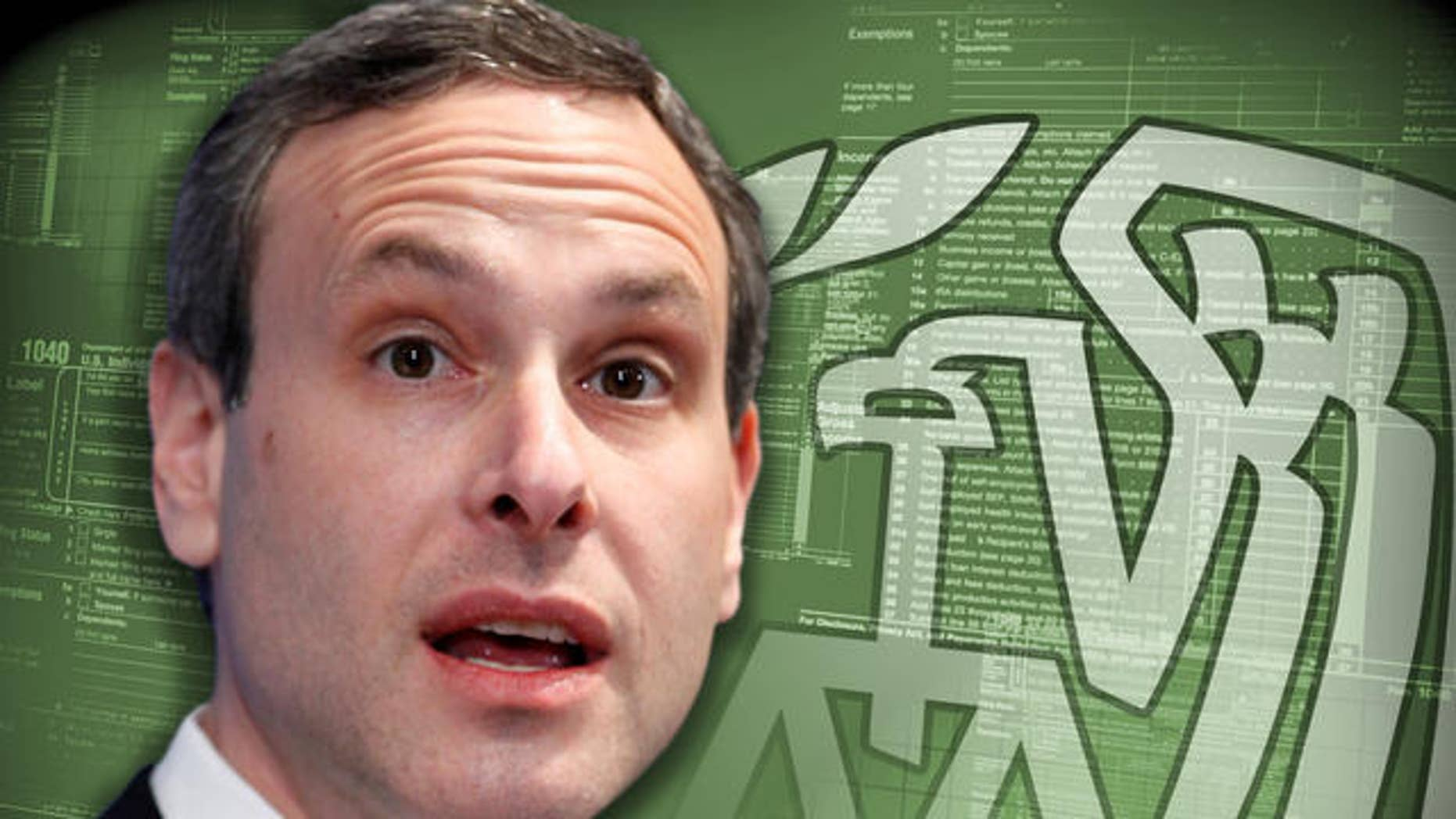 A photo of IRS Commissioner Douglas Shulman with a graphic of the IRS logo. (AP)