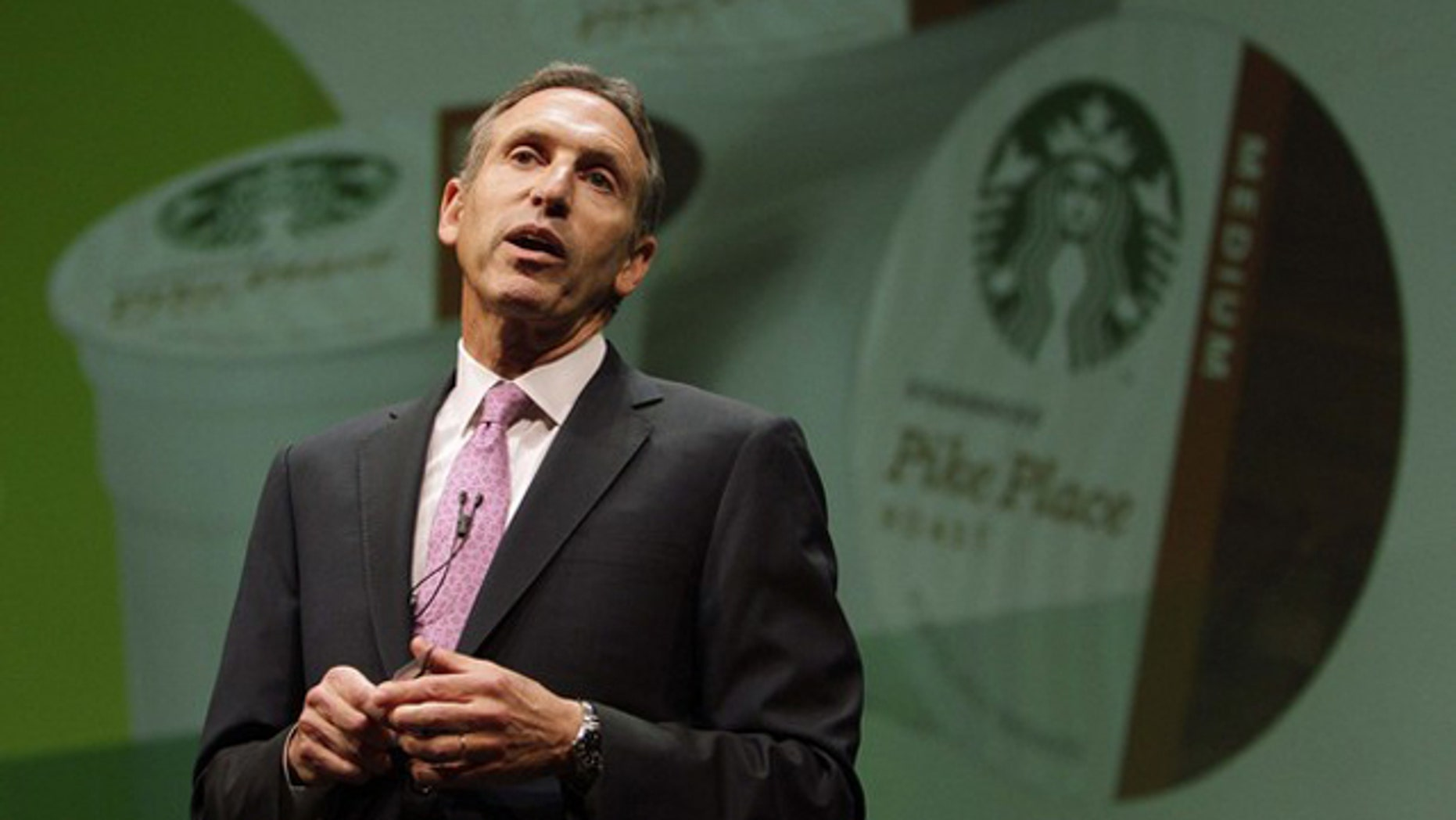 Starbucks CEO Howard Schultz speaks to shareholders at the company's annual meeting of shareholders in Seattle March 23.