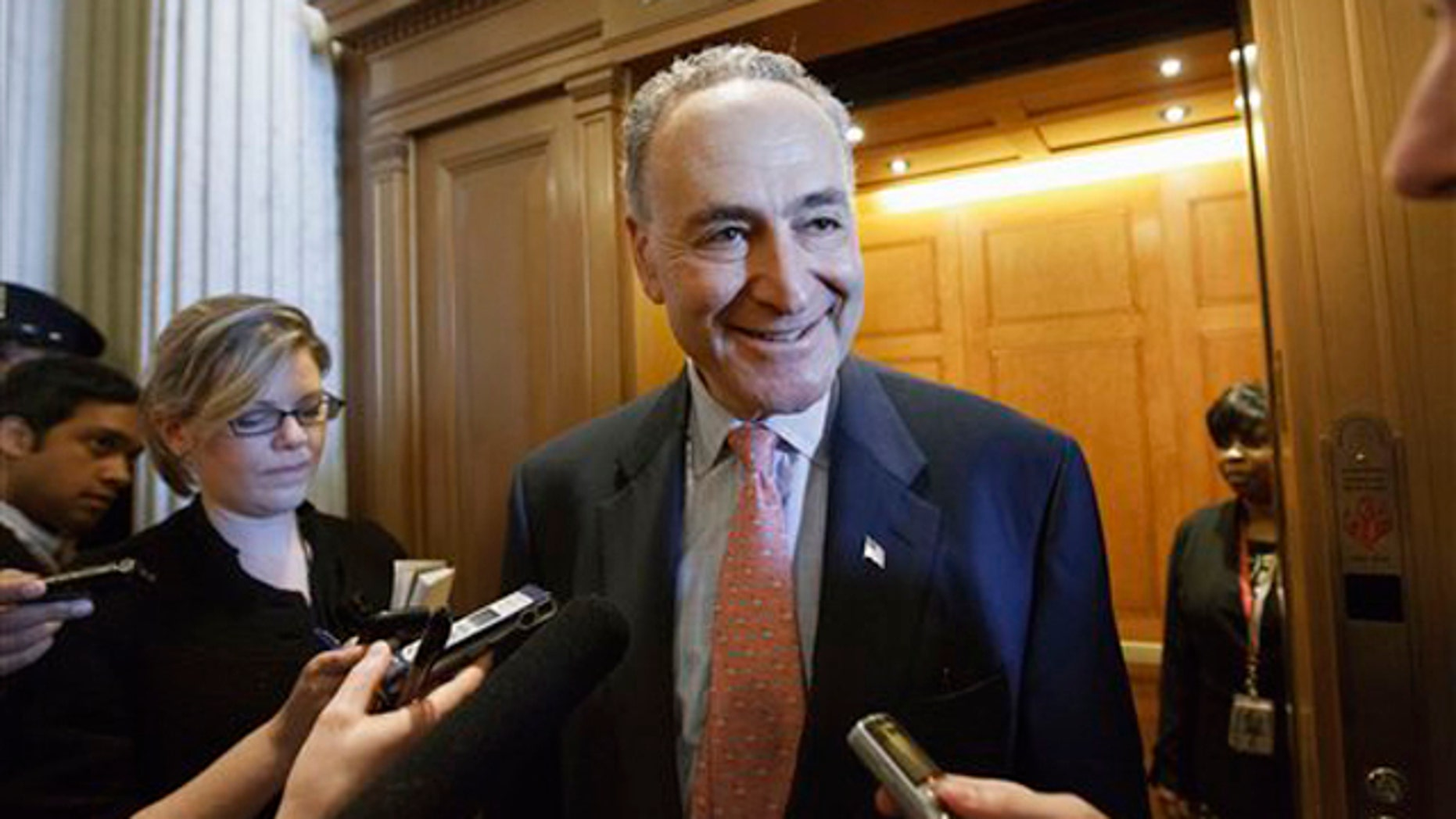 FILE: Feb. 17, 2012: Sen. Chuck Schumer speaks to reporters on Capitol Hill in Washington.