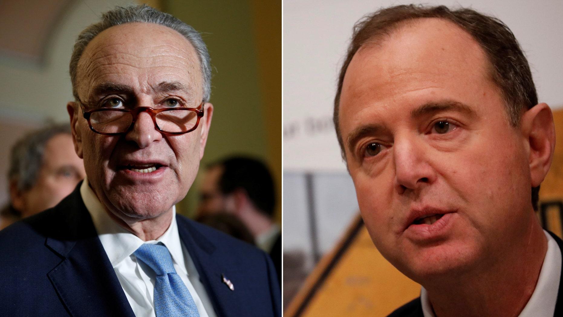Senate Minority Leader Chuck Schumer (left) and California Rep. Adam Schiff.