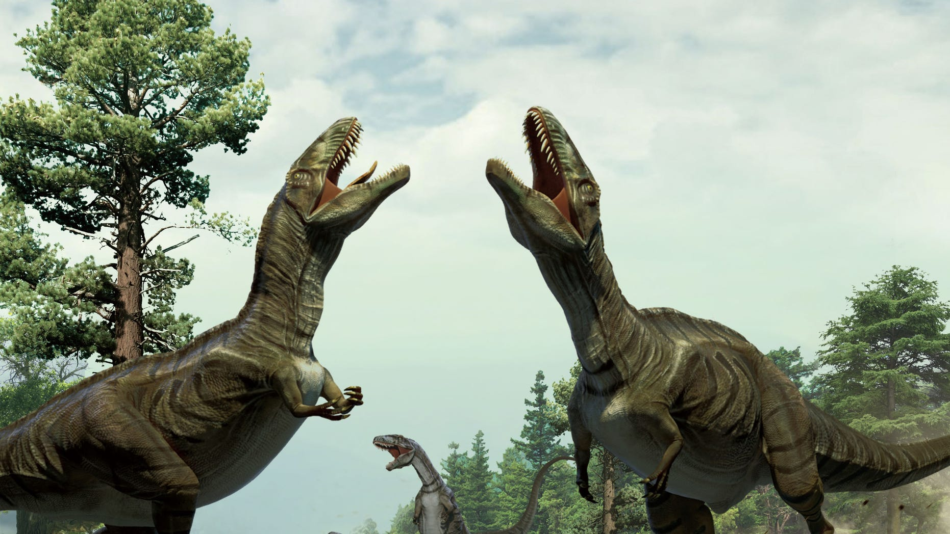 Reconstruction of theropods engaged in scrape ceremony display activity, based on trace fossil evidence from Colorado. (Xing Lida and Yujiang Han)