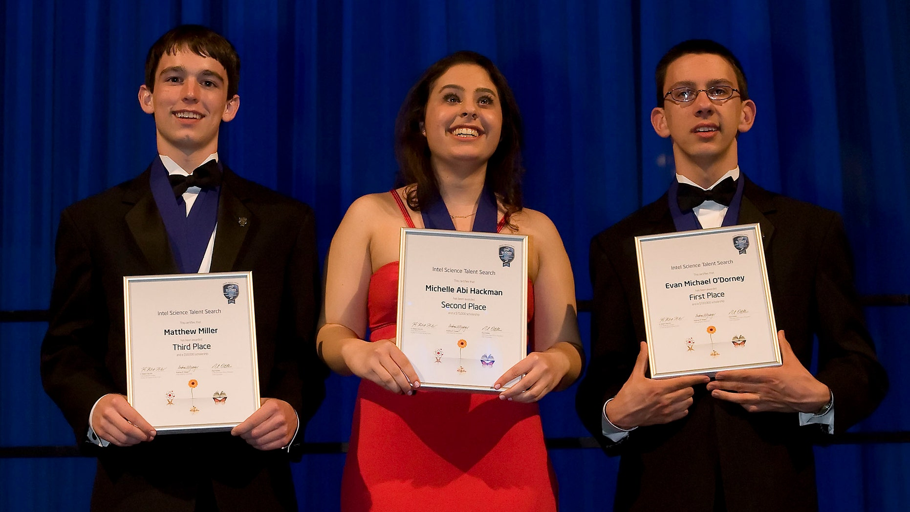 March 15: Intel Science Talent Search, a program of Society for Science and the Public, announced its top three winners, Evan O'Dorney, Michelle Hackman and Matthew Miller in Washington, D.C.