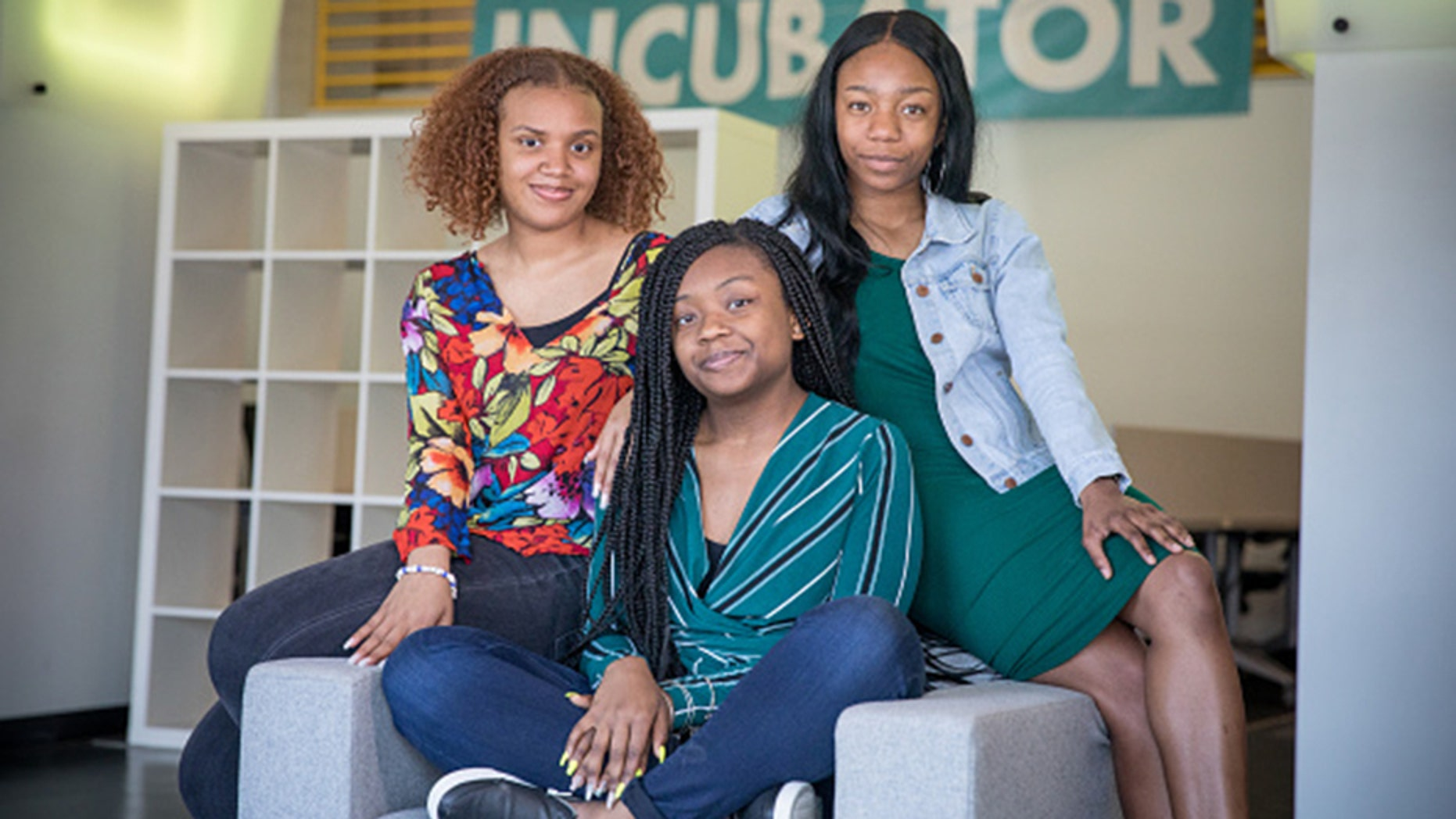 WASHINGTON,DC-MAY1: (L-R) India Skinner, Mikayla Sharrieff, and Bria Snell, 11th graders from Banneker High School in Washington, DC, are finalists in a NASA youth science competition. They are the only team of all-black students. Their successes have been getting a lot of attention among black figures on social media. (Photo by Evelyn Hockstein/For The Washington Post via Getty Images)