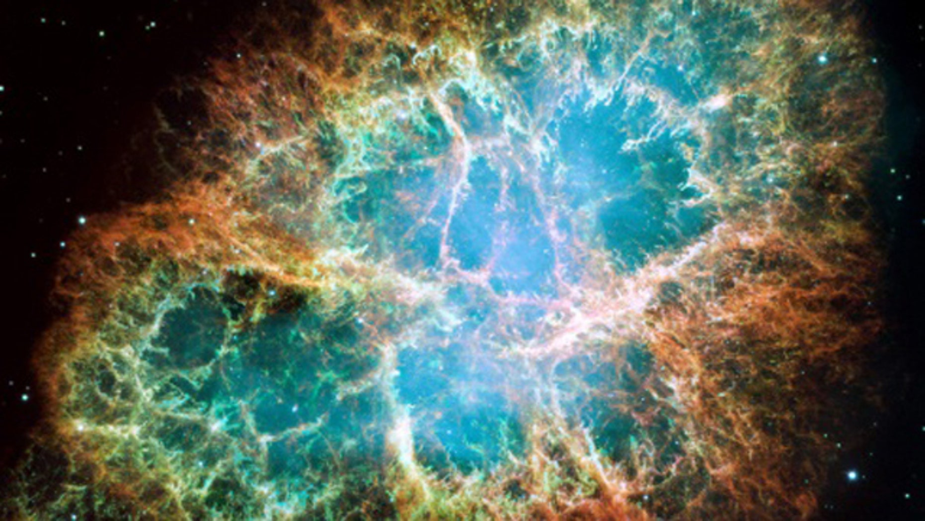 This mossaic image is a 6-light-year-wide expanding remnant of a star's supernova explosion.