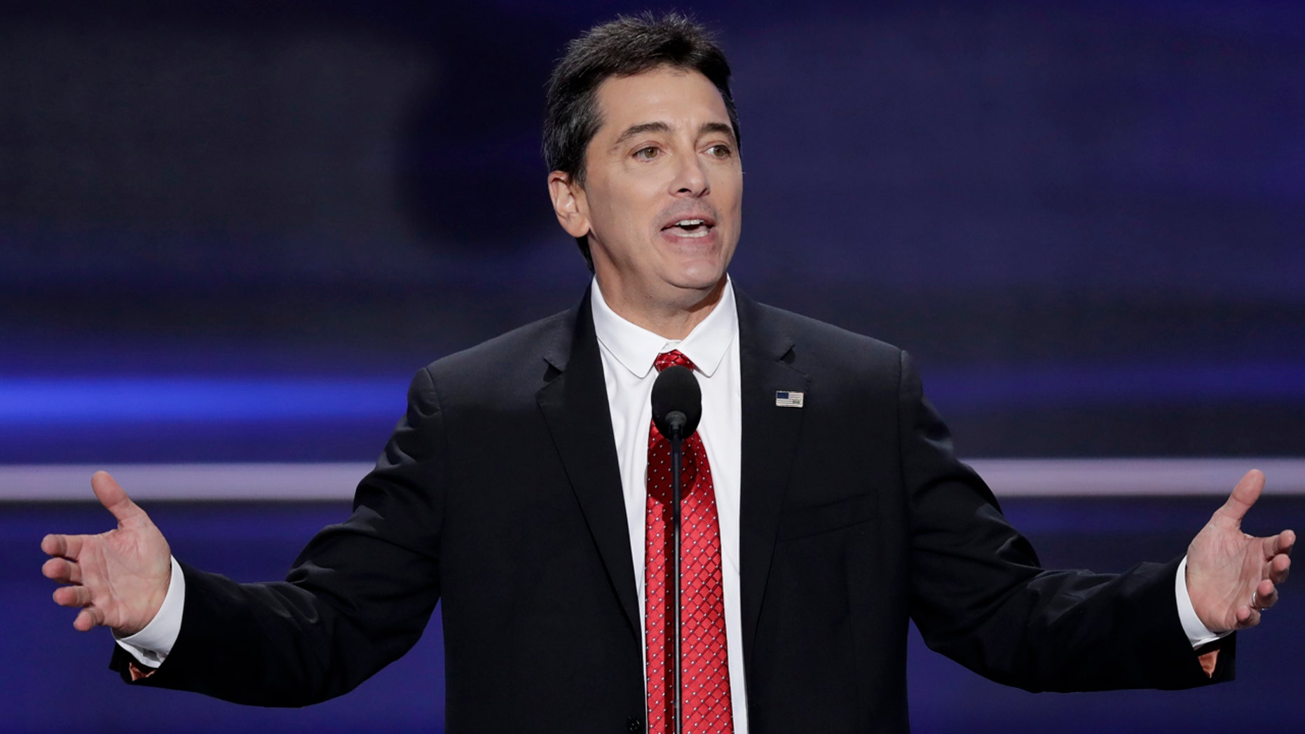 """FILE - In this  July 18, 2016, file photo, actor Scott Baio speaks during the opening day of the Republican National Convention in Cleveland. Baio wrote on Facebook April 25, 2017, that he was responding to media reports when suggested the death of his former """"Happy Days"""" co-star Erin Moran may have been due to substance abuse problems. (AP Photo/J. Scott Applewhite, File)"""