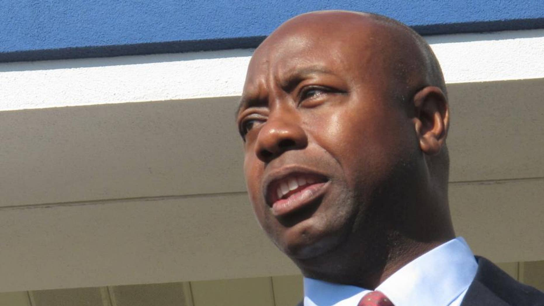 In an Oct. 19, 2010 photo, Tim Scott, Republican candidate for the U.S. House in South Carolina's 1st District, speaks to a crownd during a campaign event in North Charleston, S.C. (AP Photo/Bruce Smith)