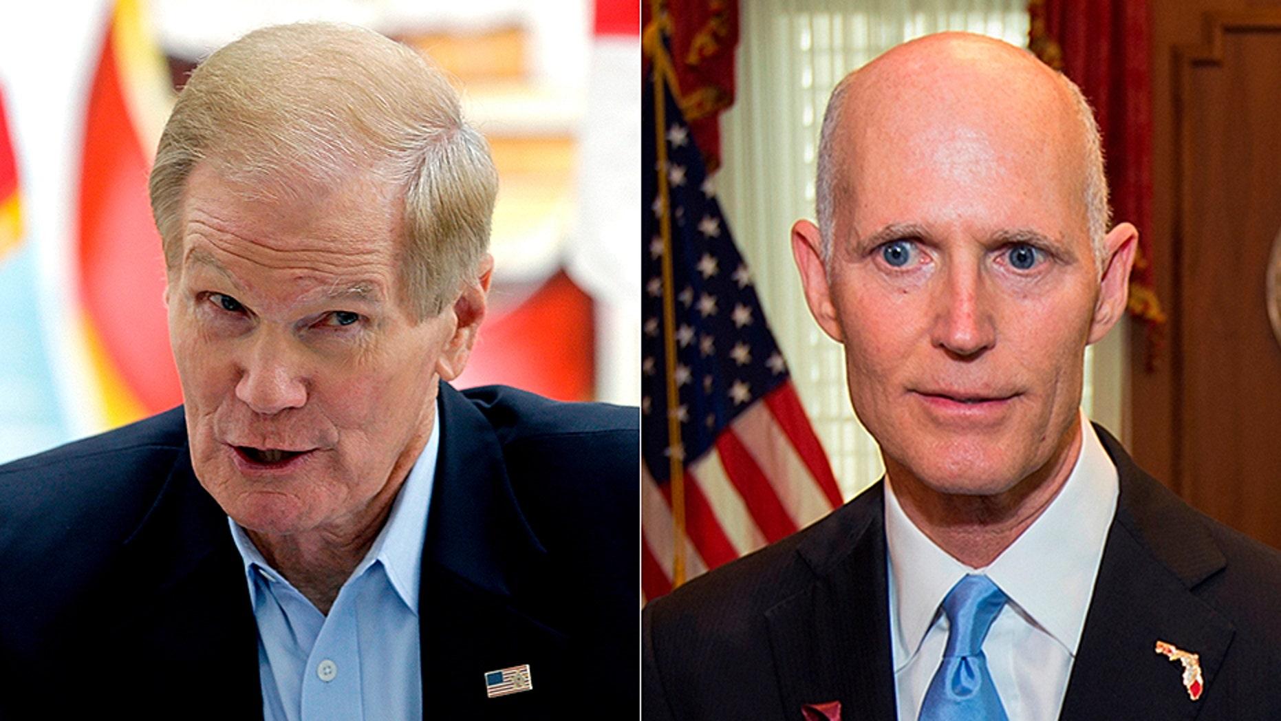 "The match-up between Democrat incumbent Sen. Bill Nelson (left) and Republican Gov. Rick Scott (right) for Florida's U.S. Senate seat has been called a ""clash of titans."""