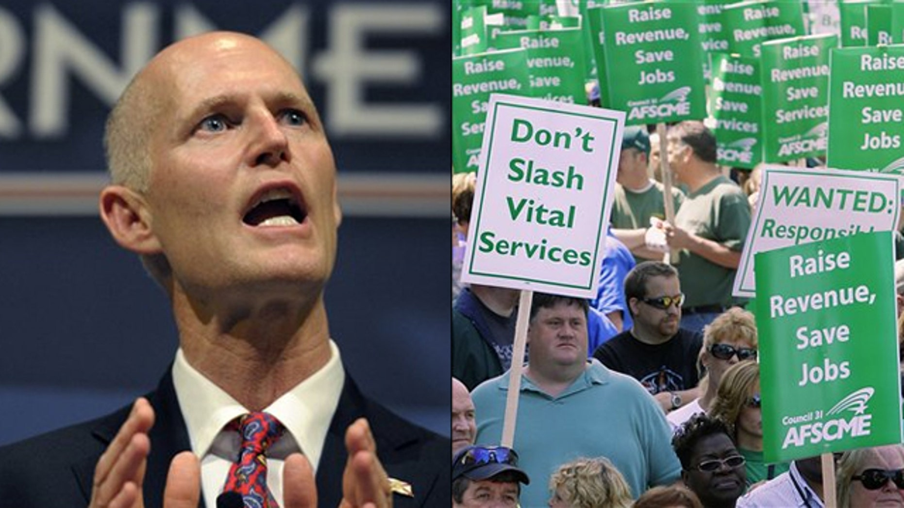 At left, Florida Gov. Rick Scott speaks at a Tea Party event in Eustis, Fla., Feb. 7. At right, Illinois state workers and union members rally in Springfield, Ill., to protest budget cuts in April 2010.