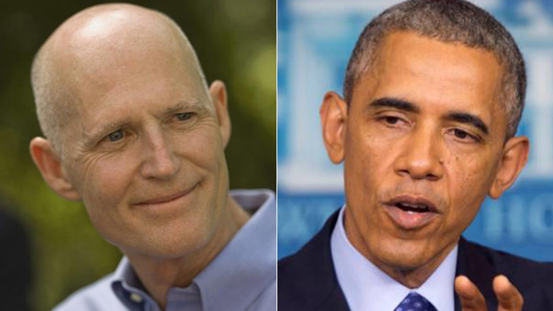 Florida Gov. Rick Scott, (l.), and President Obama have clashed over environmental policy, but won't be anywhere near each other on Wednesday, when the president gives an Earth Day address. (AP)