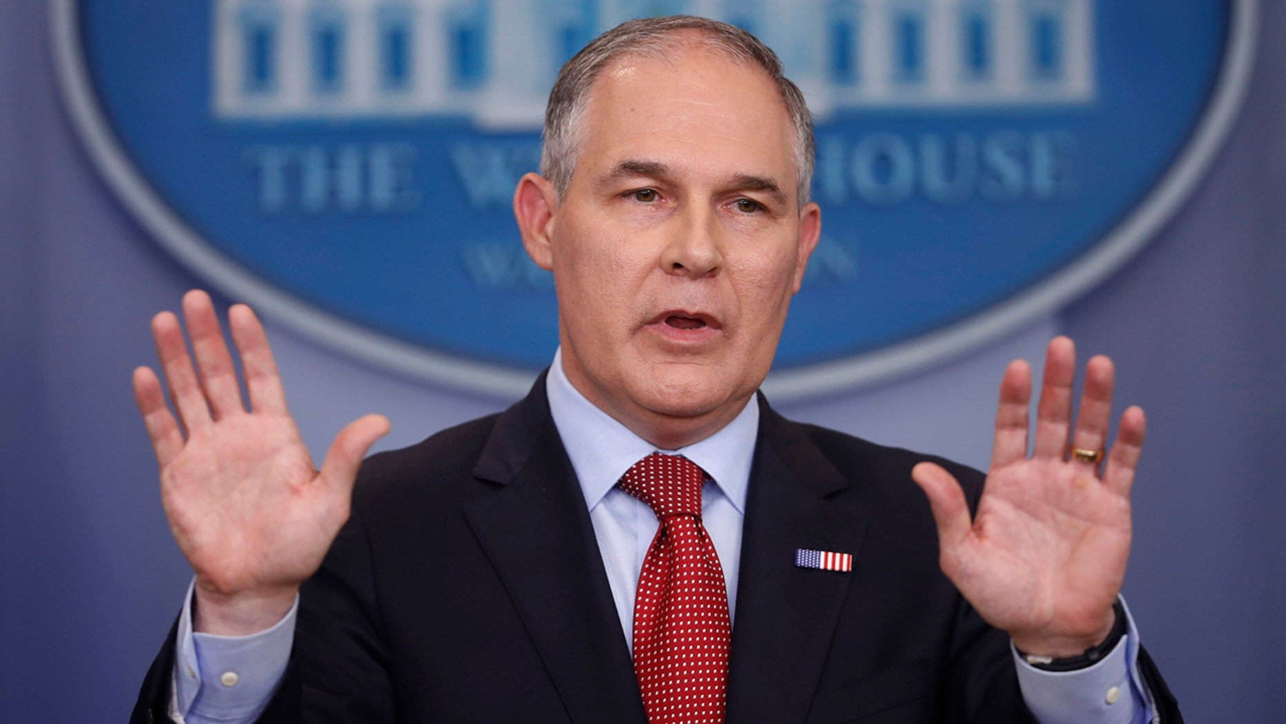 EPA Administrator Scott Pruitt speaks to the media during the daily briefing in the Brady Press Briefing Room of the White House in Washington on June 2, 2017.