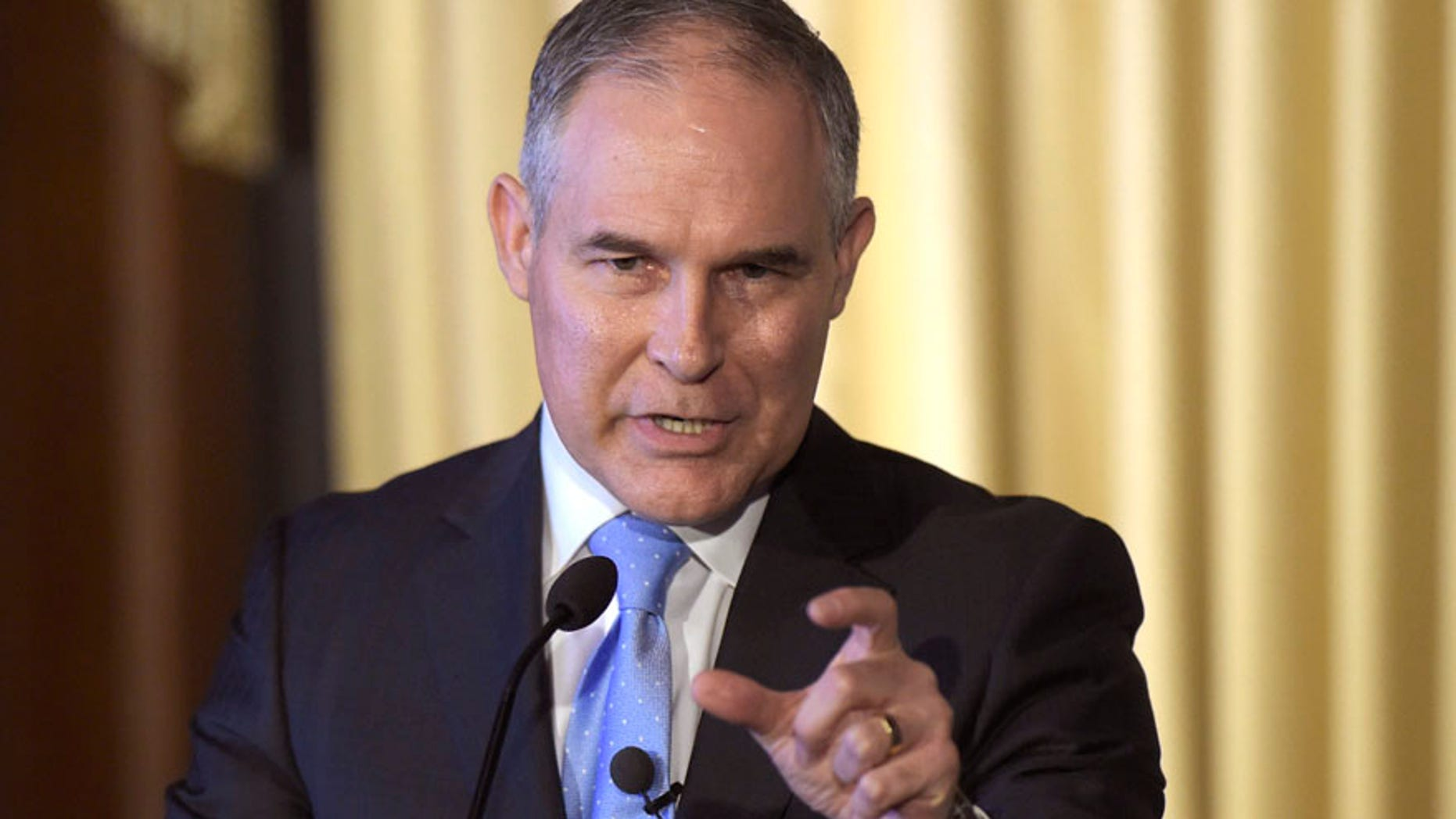 In this Feb. 21, 2017, file photo, Environmental Protection Agency (EPA) Administrator Scott Pruitt speaks to employees of the EPA in Washington.