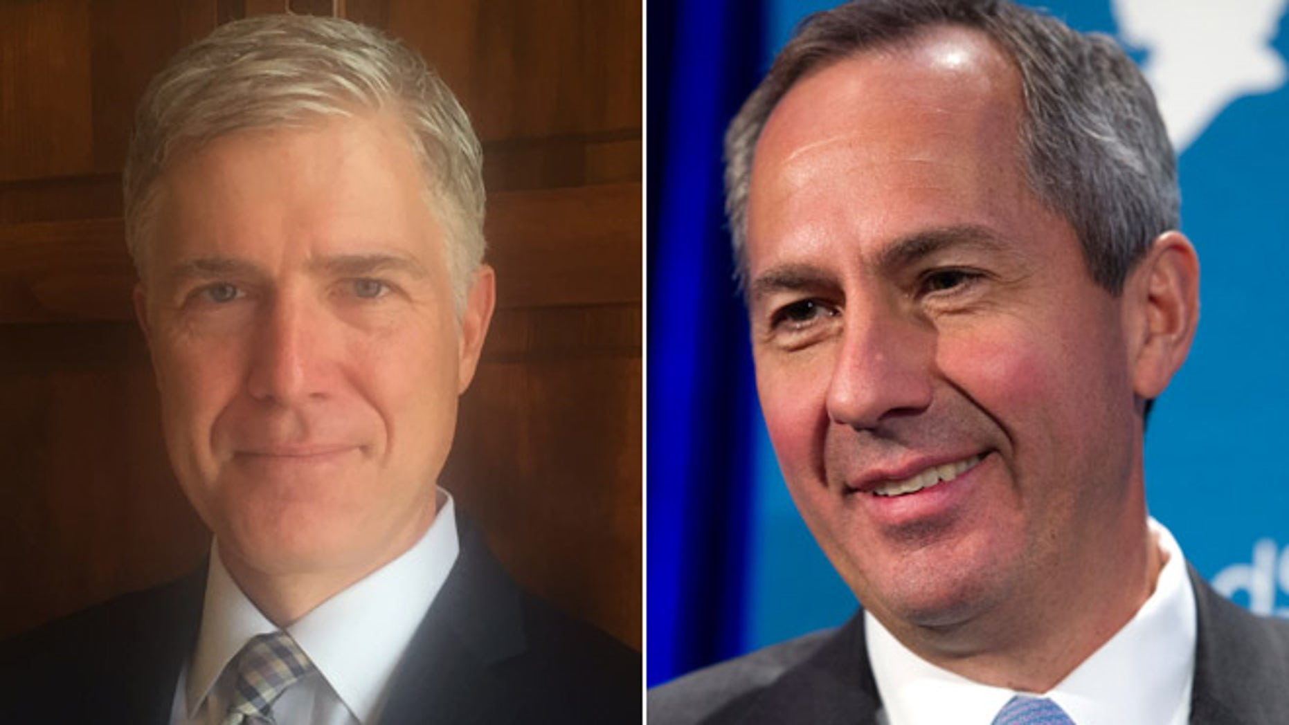 This image shows Judge Neil Gorsuch, left, and Judge Thomas Hardiman, right.