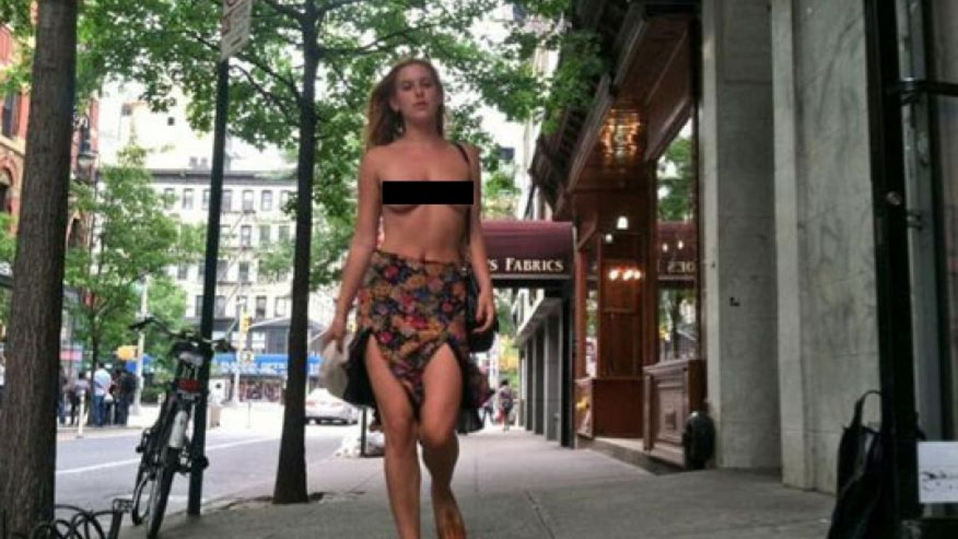 Scout Willis protested Instagram by walking around New York City topless.
