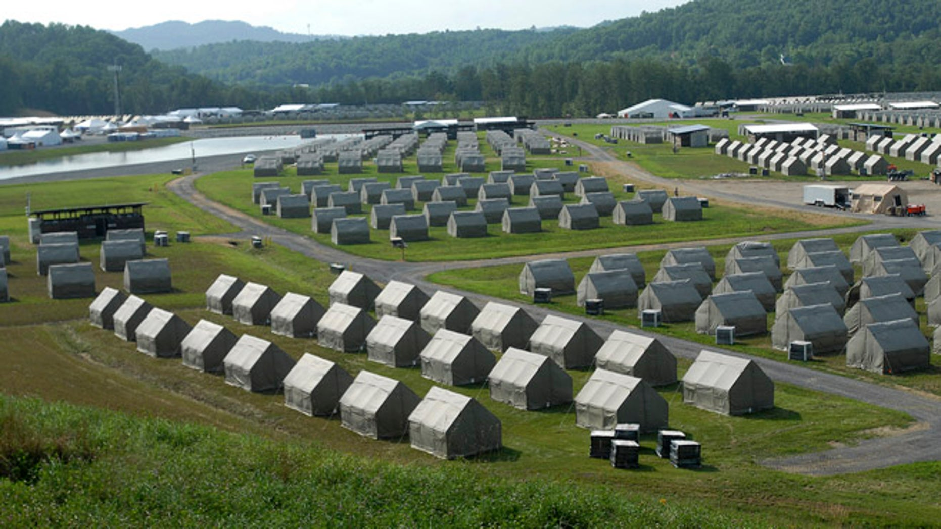 This Monday July 8, 2013 photo shows tents that will house staff members at the Summit Bechtel Family National Scout Reserve in Glen Jean, W.Va. Some 40,000 Scouts, leaders and others will descend on southern West Virginia for the first ever National Scout Jamboree at the site next week.