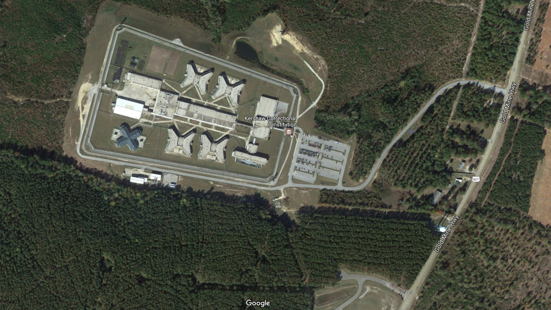 A satellite view of Kershaw Correctional Institution in South Carolina.