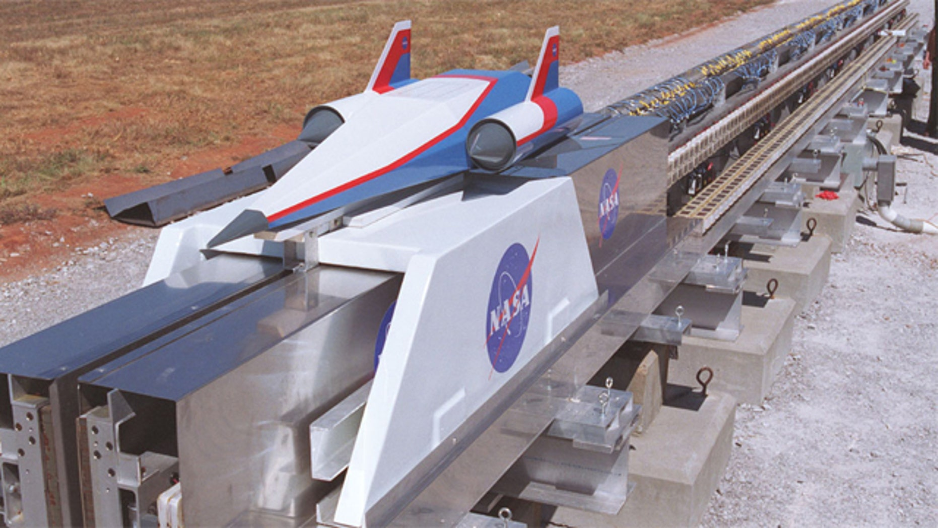 Different technologies to push a spacecraft down a long rail have been tested in several settings, including this Magnetic Levitation (MagLev) System evaluated at NASA's Marshall Space Flight Center.
