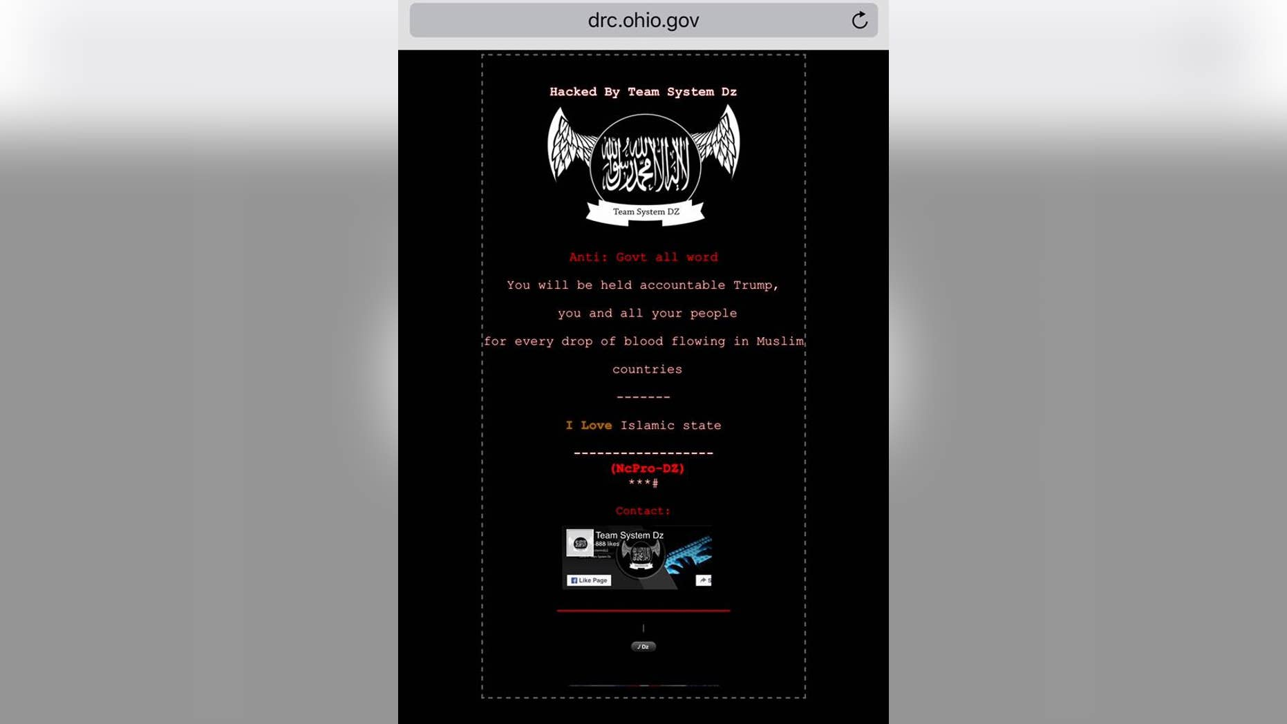 The Ohio Department of Corrections website, which was defaced on June 25, 2017.
