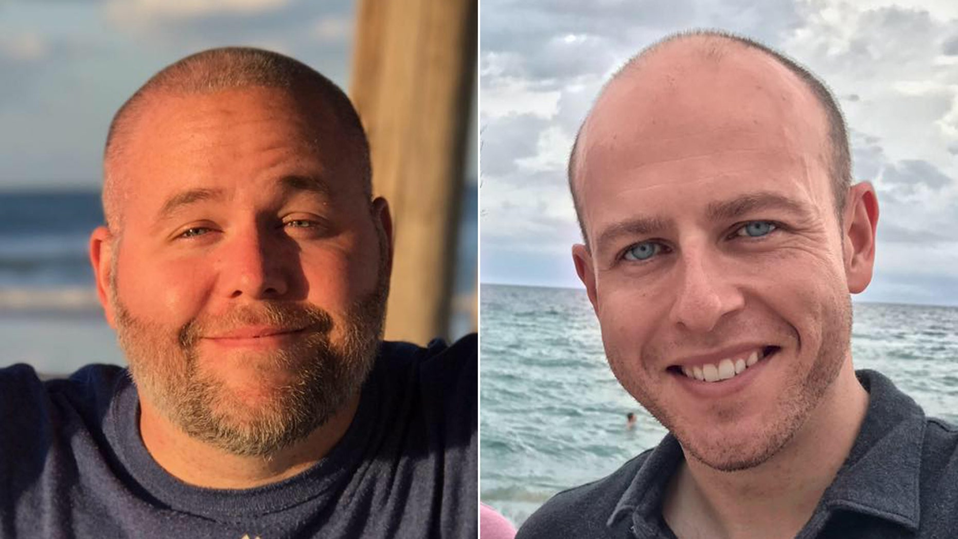 """WYFF news anchor Mike McCormick (right) and photojournalist Aaron Smeltzer (left) were covering """"rain impact"""" in Polk County when a tree fell on their SUV, killing both men."""