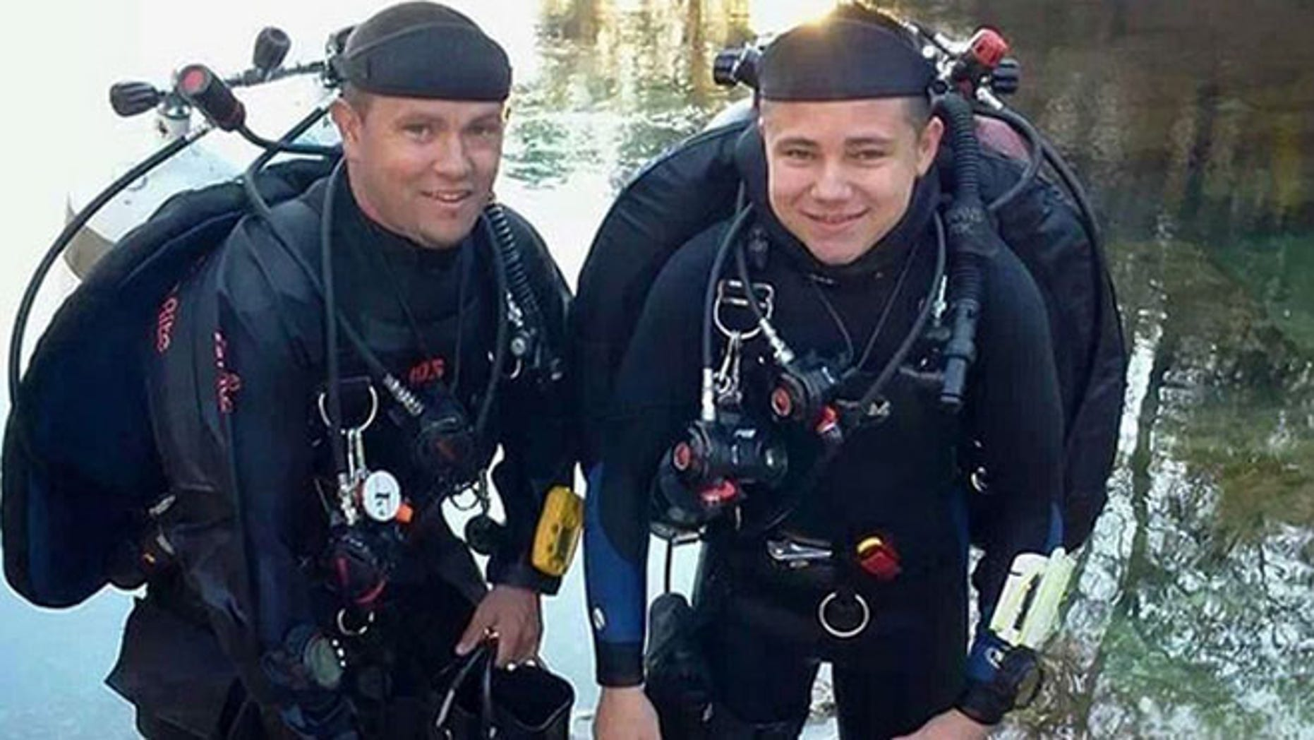 Deputies say Darrin Spivey and his 15-year-old son, Dillon Sanchez, were testing diving equipment they received as Christmas presents.