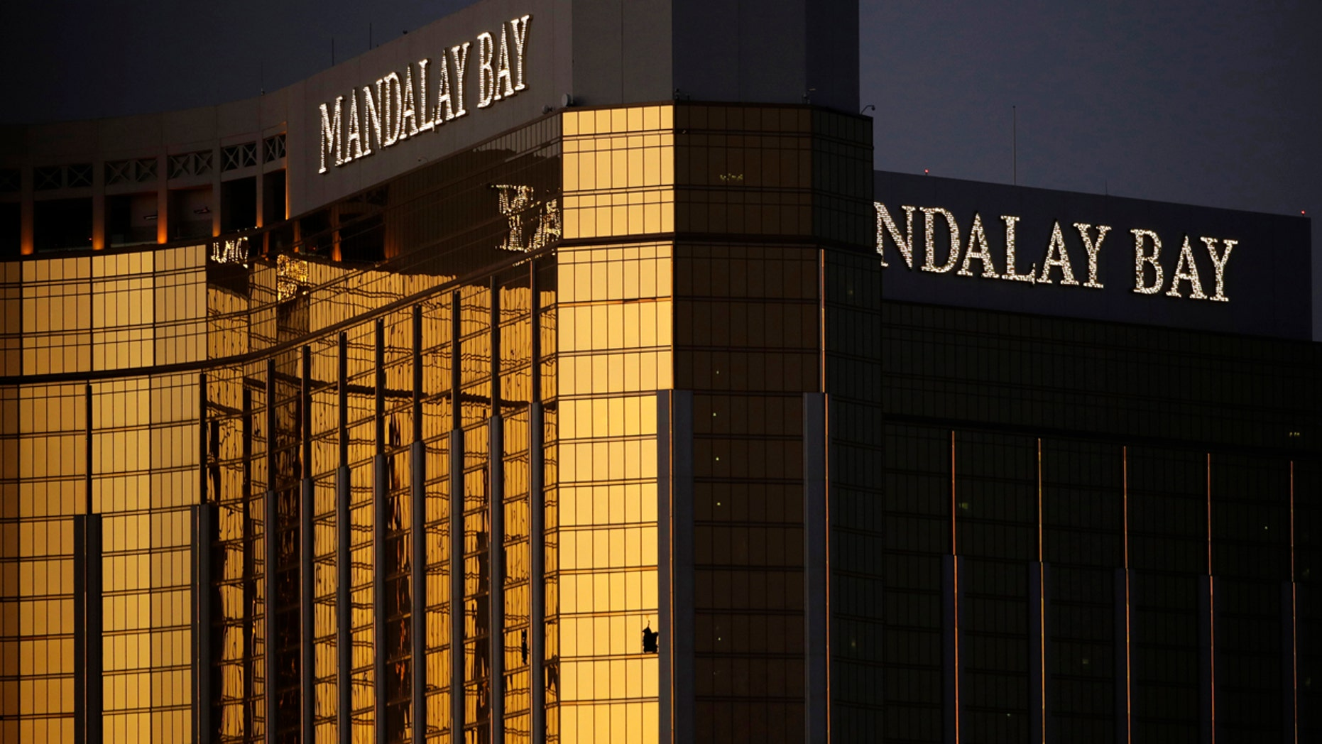 FILE 2017:  windows are broken at the Mandalay Bay resort and casino in Las Vegas, the room from where Stephen Craig Paddock fired on a nearby music festival.