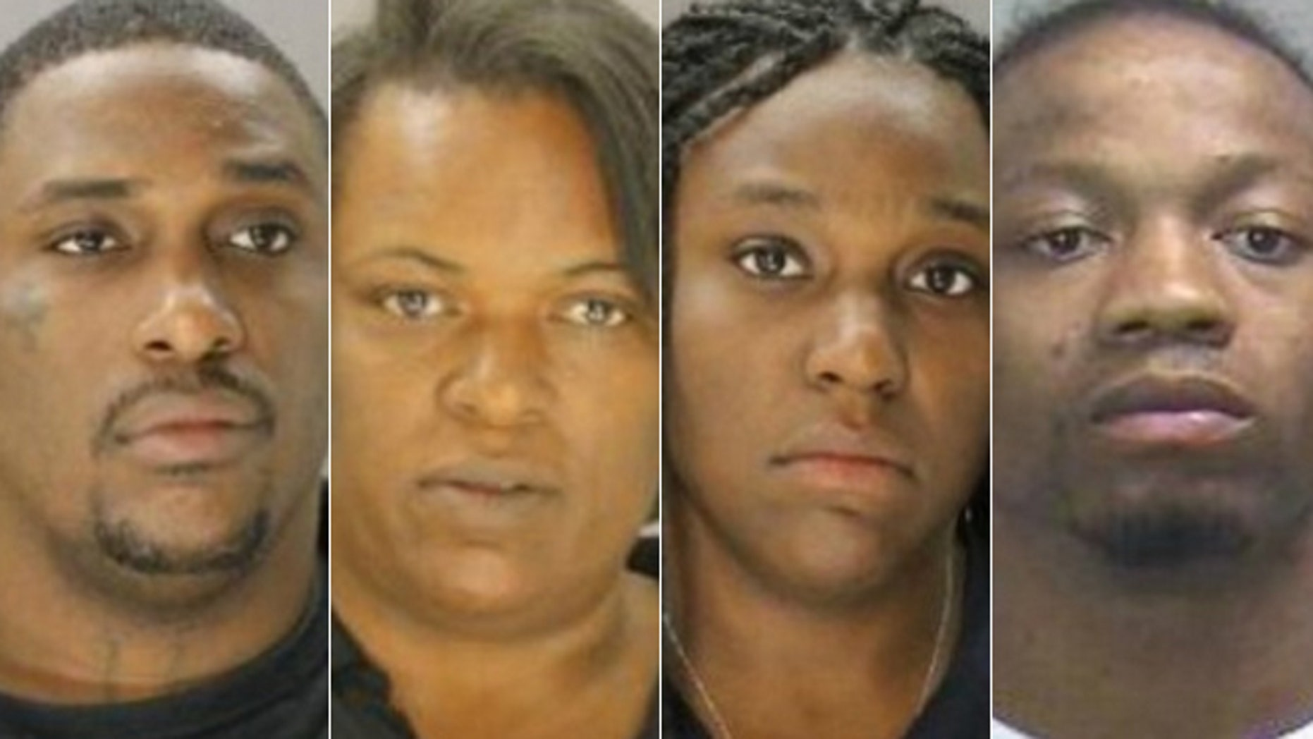 From the left, Cedric Jones, Sharon Jones, Cecila McDonald and Lonnell McDonald were reportedly arrested on charges of engaging in organized criminal activity.