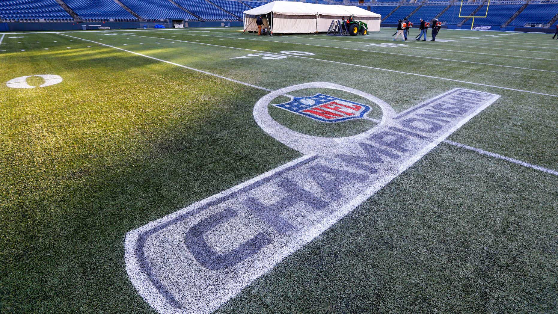 Jan. 14, 2015: A freshly painted NFL football Championship logo is shown at CenturyLink Field in Seattle.
