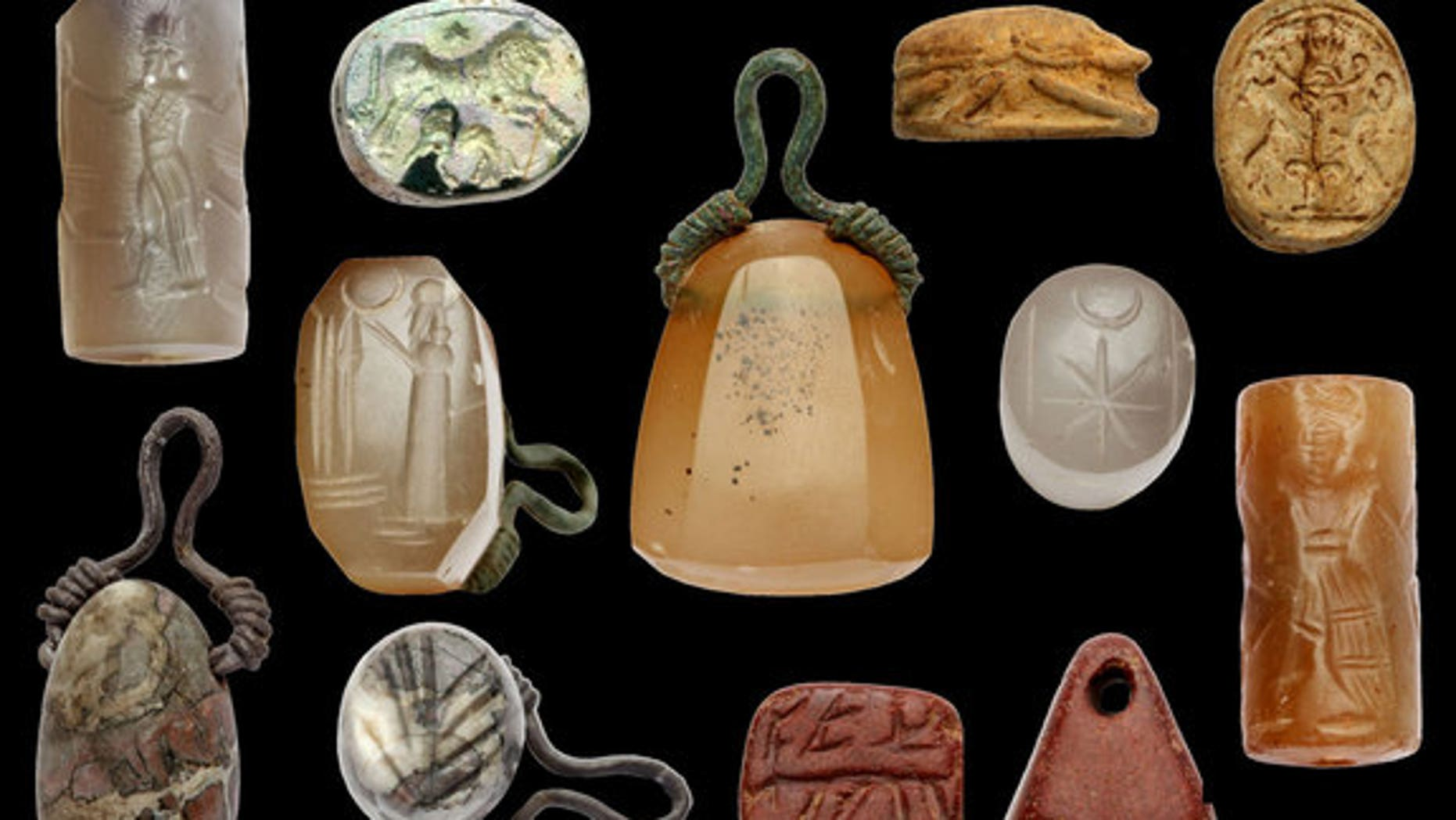 These seals carved with religious inscriptions were found near the site of the ancient city of Doliche.