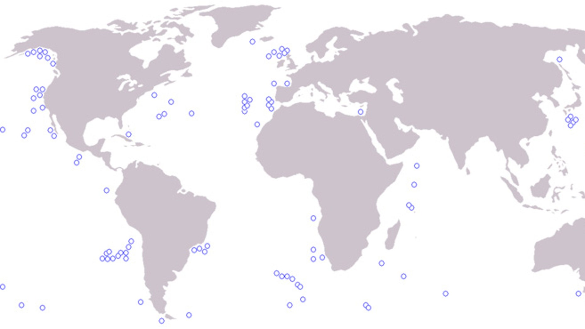 A partial mapping of some of the world's major seamounts