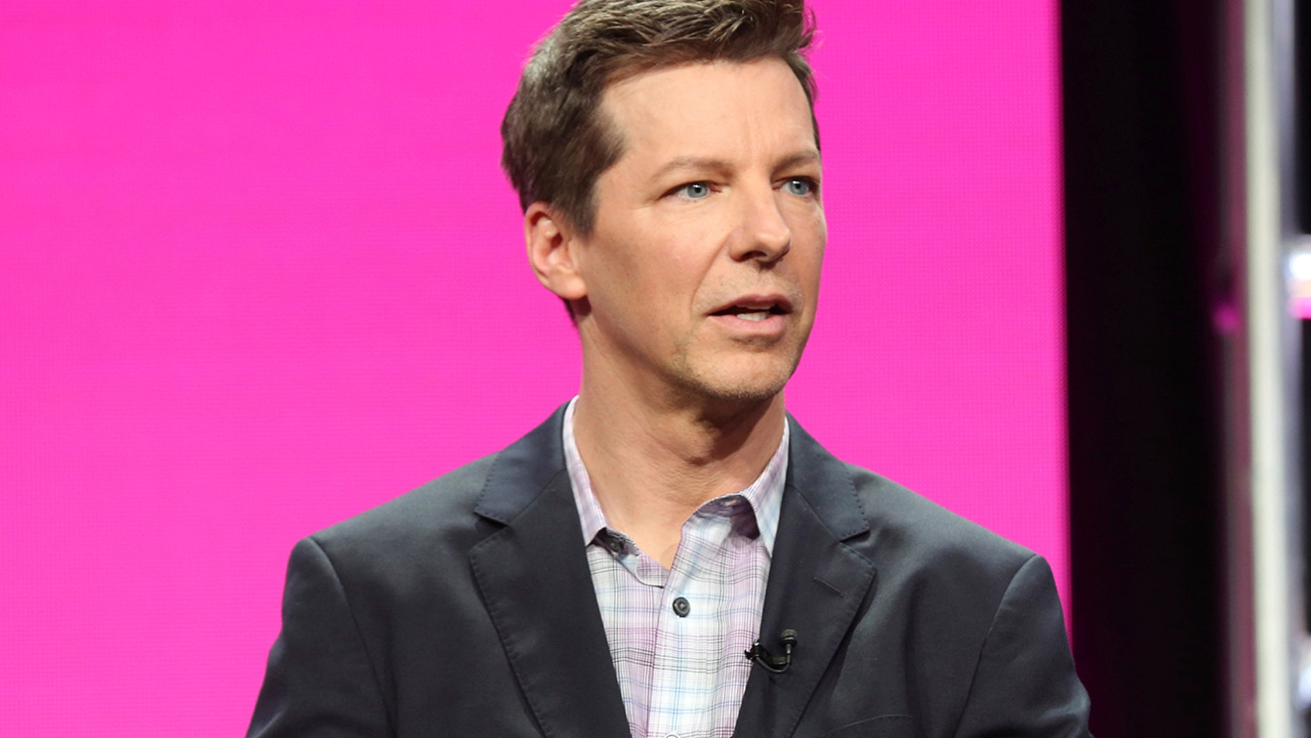 "In this Aug. 3, 2017, file photo, Sean Hayes participates in the ""Will & Grace"" panel during the NBC Television Critics Association Summer Press Tour at the Beverly Hilton in Beverly Hills, Calif. Hayes told Ellen DeGeneres on her chat show Oct. 25, 2017, that he was hospitalized earlier in the month after his small intestine burst."