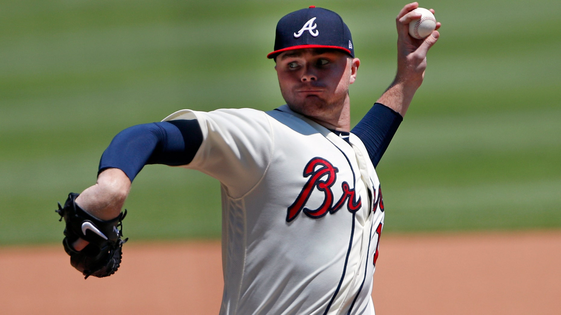 Atlanta Braves starting pitcher Sean Newcomb works in the fourth inning of a baseball game against the Los Angeles Dodgers, Sunday, July 29, 2018, in Atlanta. (AP Photo/John Bazemore)