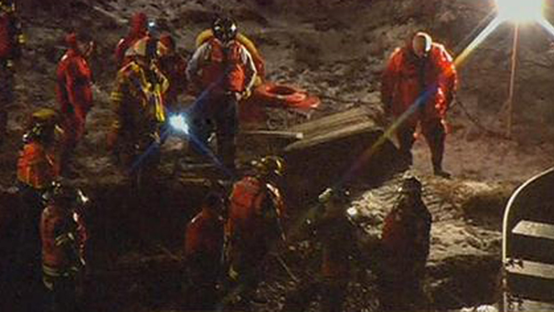 This photo shows the scene of a search of an icy New Jersey lake for two missing teens.