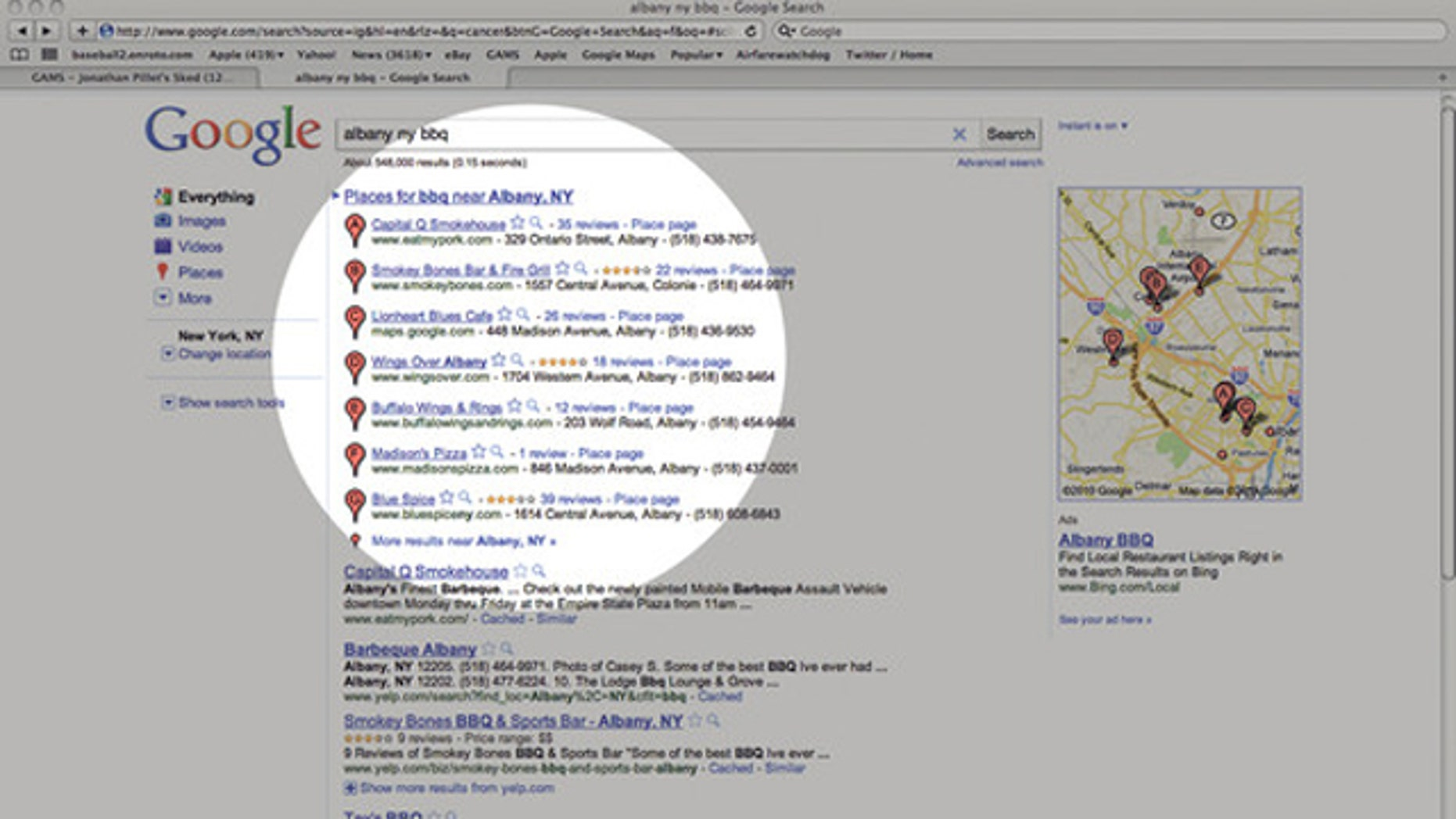 Google tops search results with its new place service.