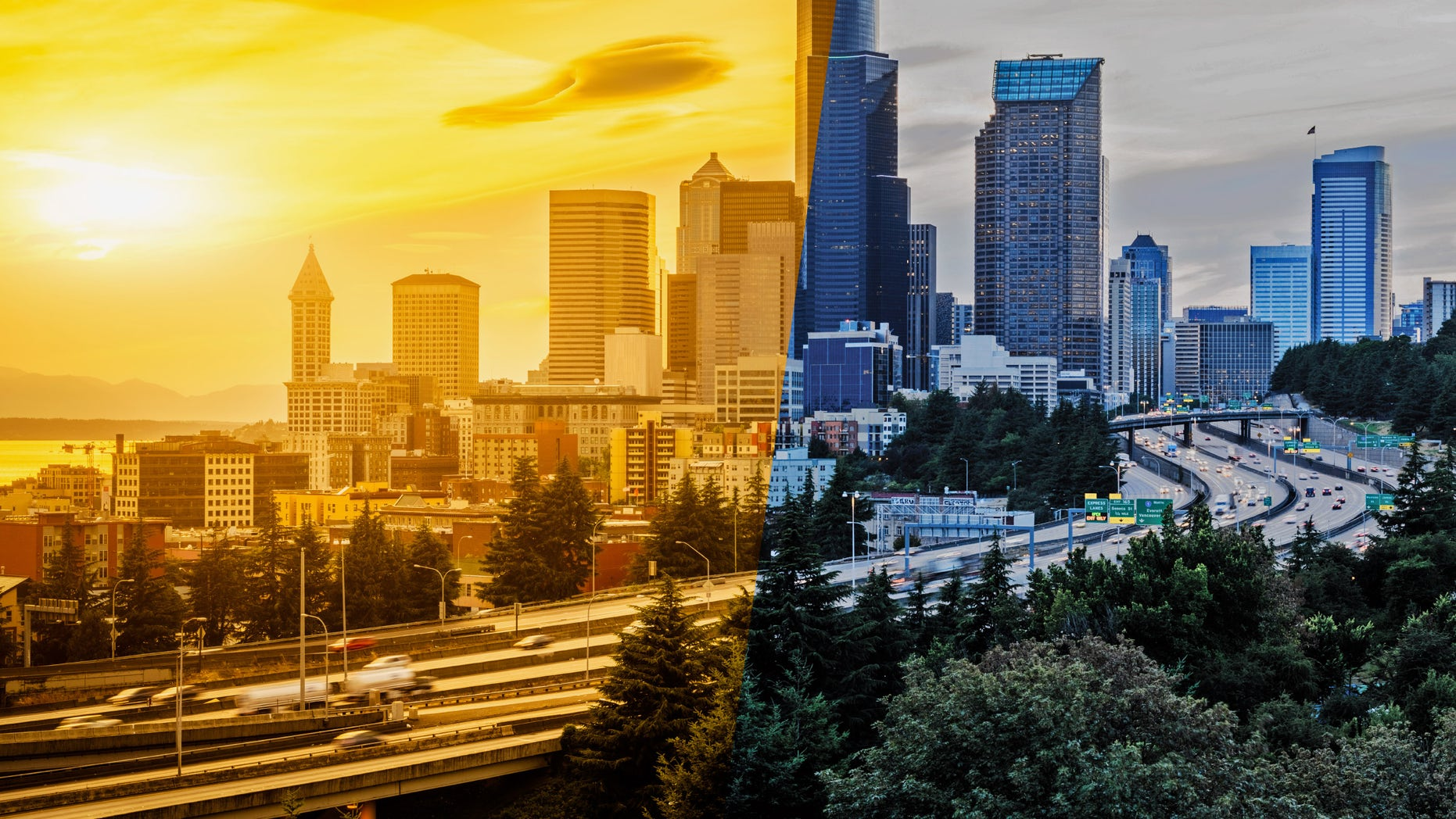 Seattle in sun and rain