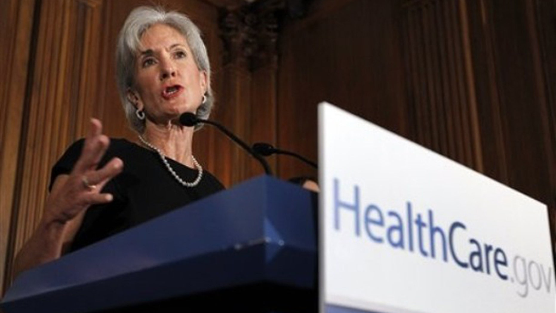 FILE: Health and Human Services Secretary Kathleen Sebelius gestures during a news conference on Capitol Hill Sept. 23, 2010.